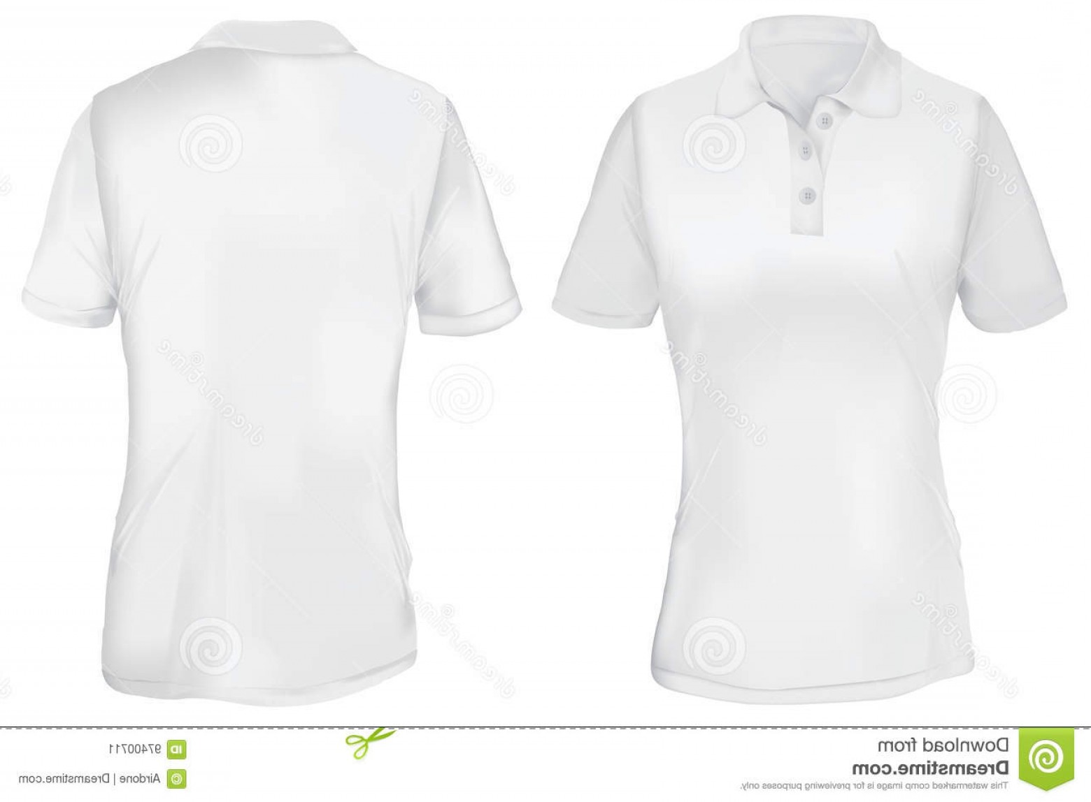 Female Polo Shirt Vector Template: Stock Illustration White Polo Shirt Template Woman Vector Illustration Blank T Front Back Design Isolated Image