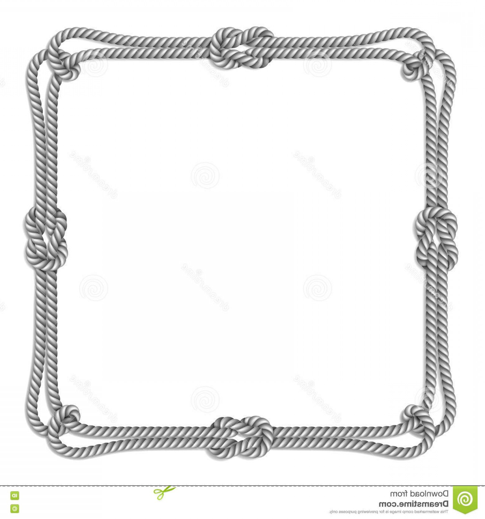 Square Black Vector Border Frame: Stock Illustration White Rope Woven Vector Border Rope Knots Square Vector Frame Isolated Image