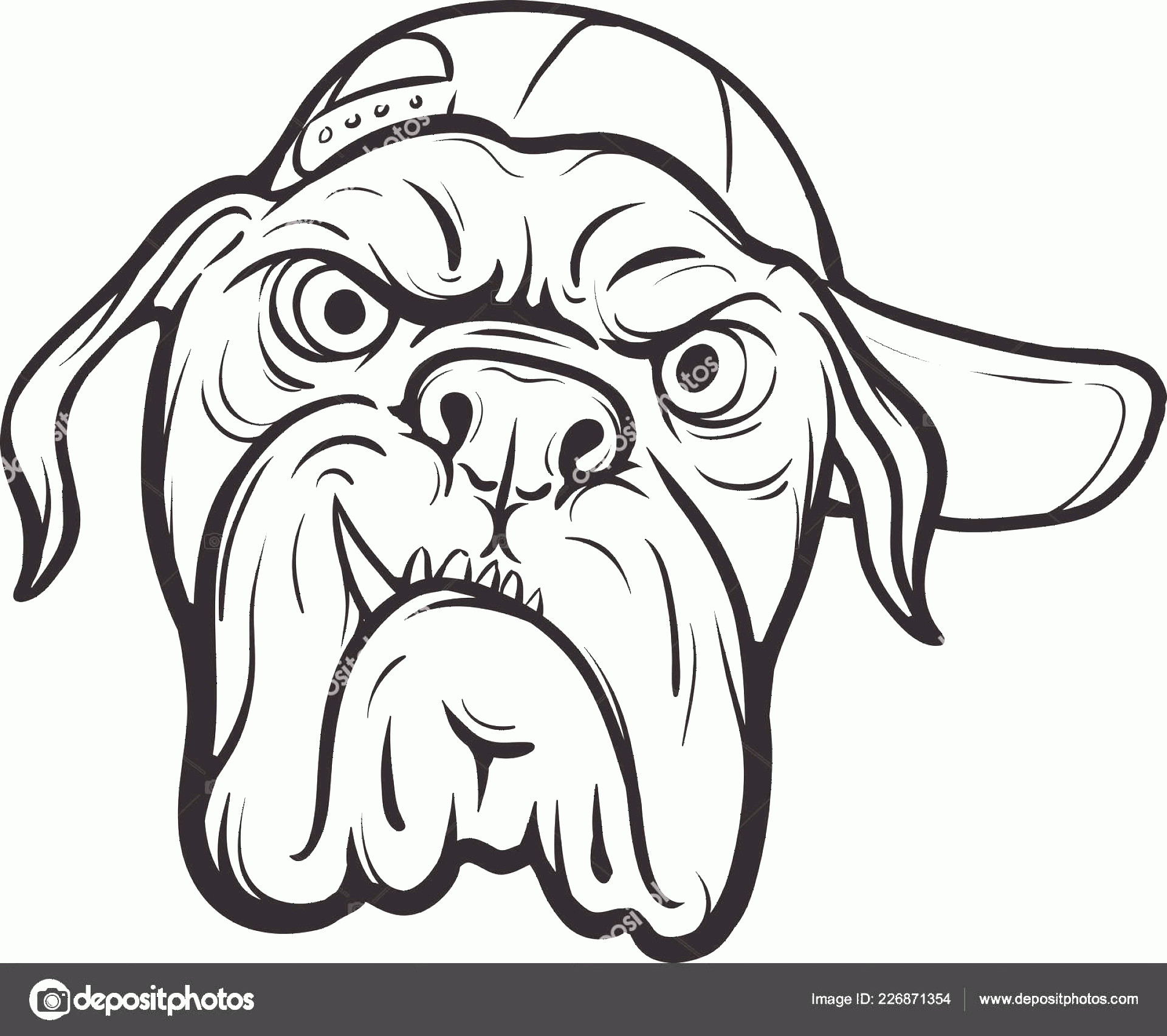 Angry Dog Vector Black And White: Stock Illustration Whiteboard Drawing Angry Dog Face