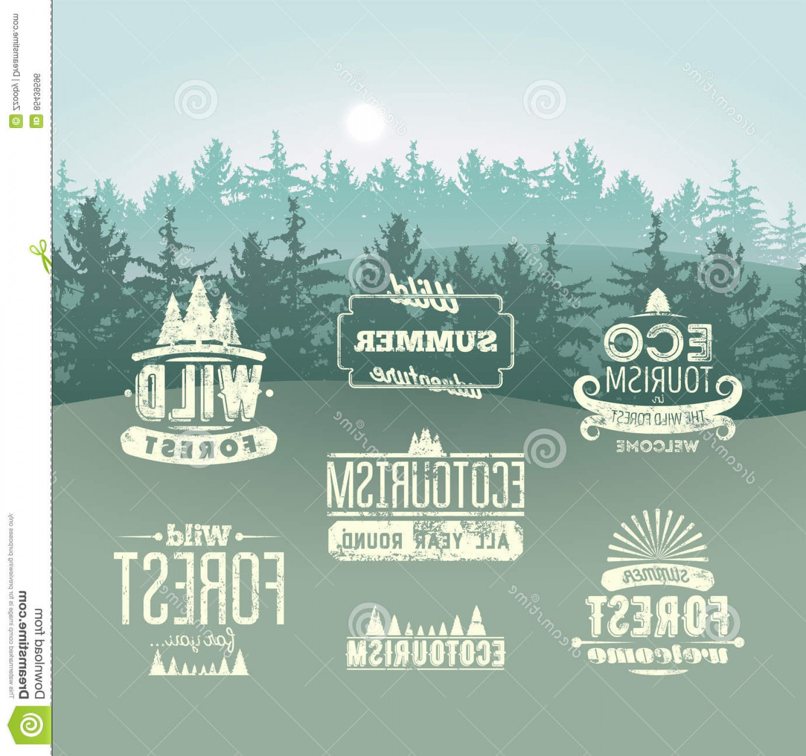 Gru Vector Logos: Stock Illustration Wild Forest Ecotourism Typographic Retro Labels Vintage Badges Logo Signs Background Fir Trees Landscape Gru Image