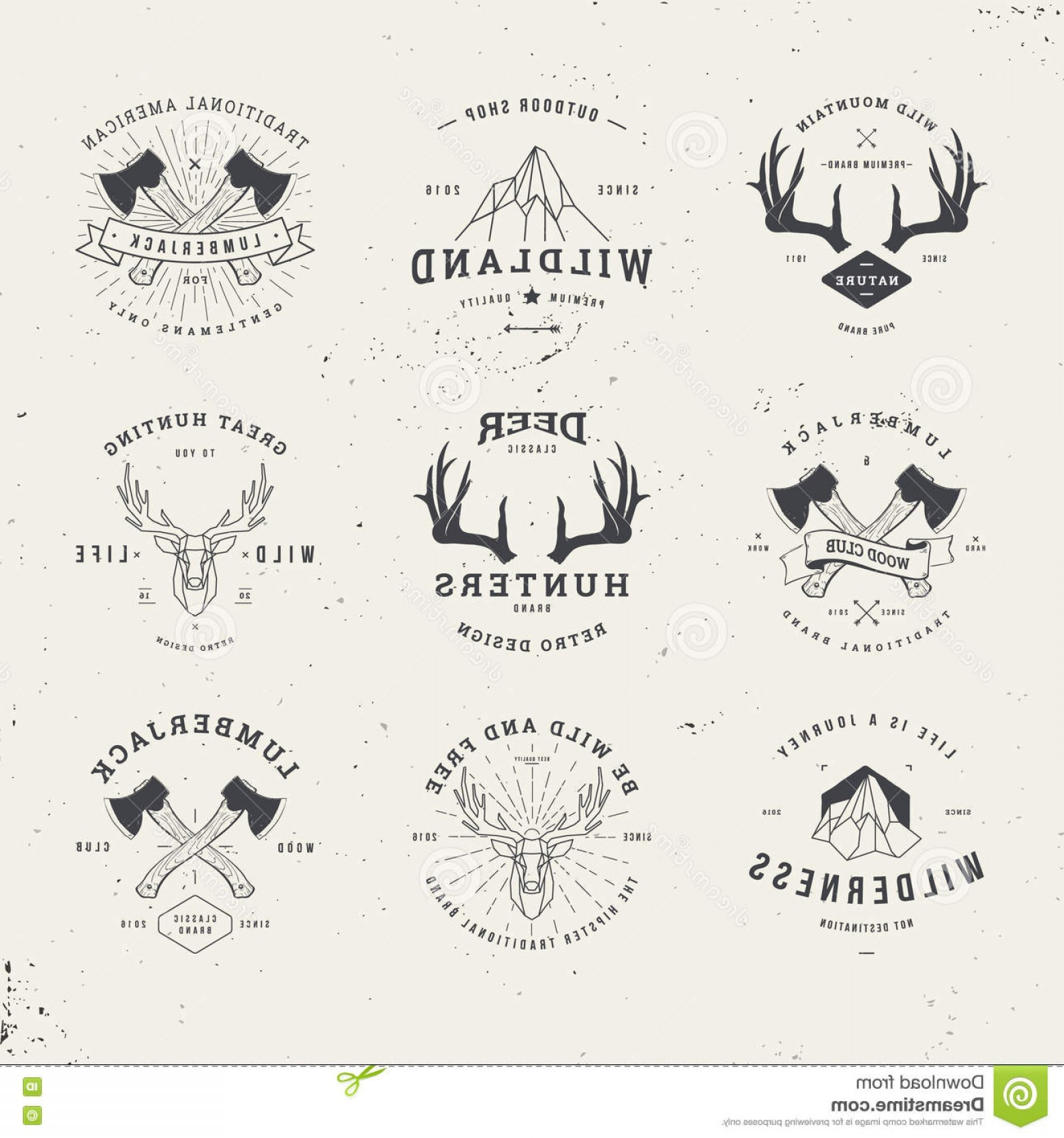 Hipster Logo Vectors Mountain: Stock Illustration Wildlife Hunters Logo Set Hipster Deer Antlers Axe Mountains Image