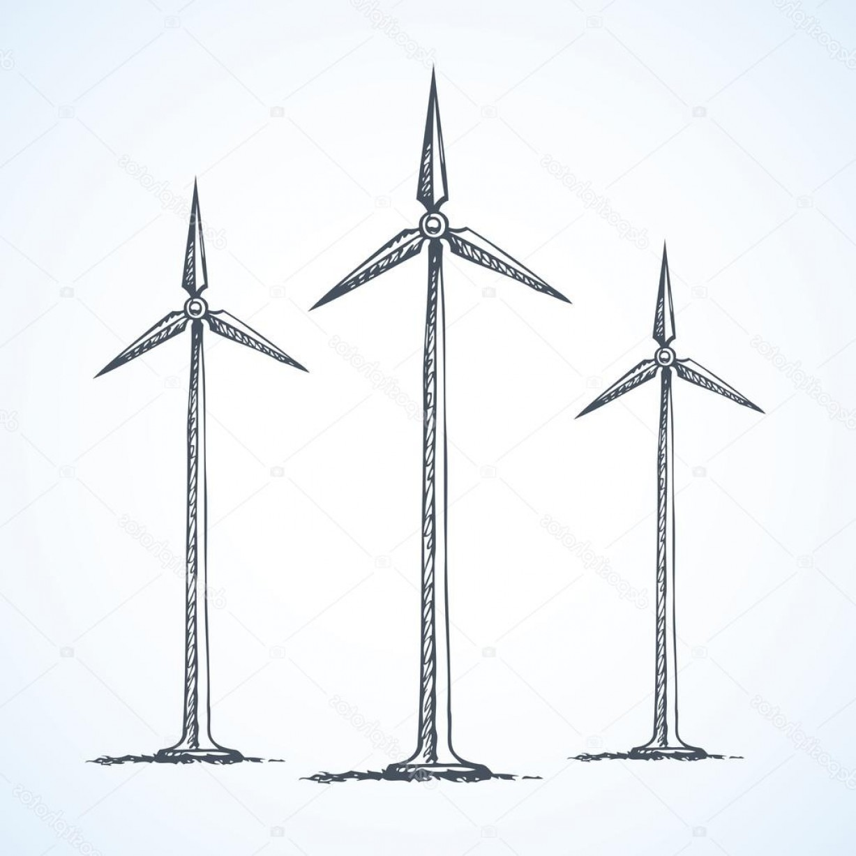 Vector Power Plant Utility: Stock Illustration Wind Power Plant Vector Drawing