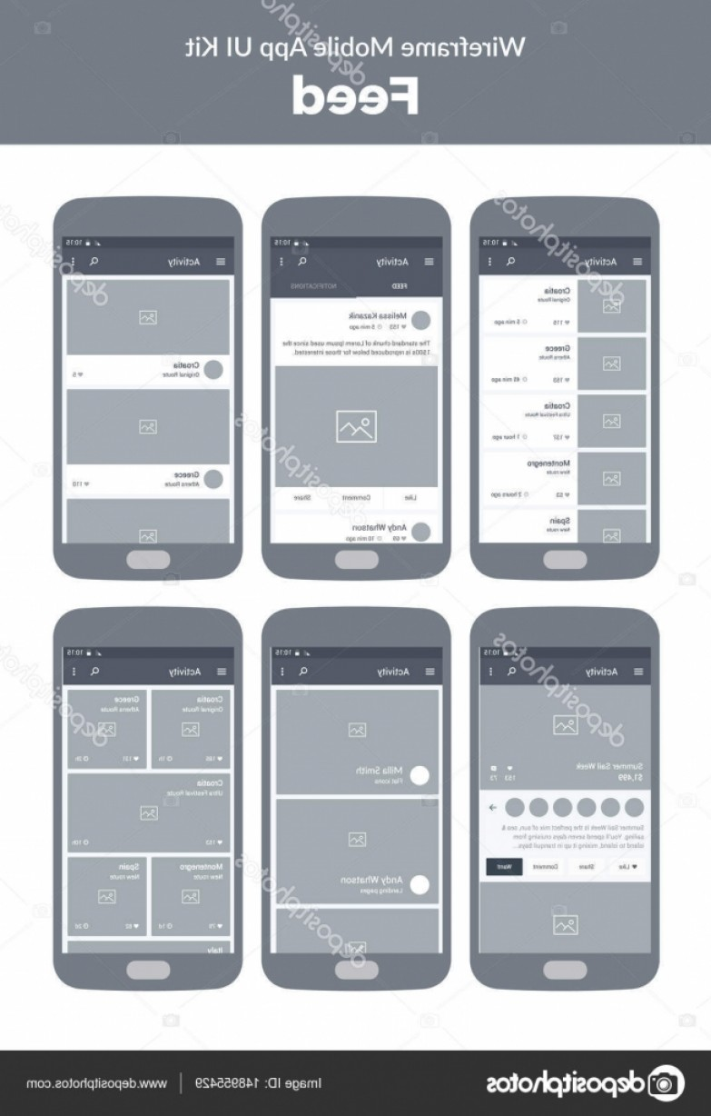 Search Logo Lumia Vector: Stock Illustration Wireframe Kit For Mobile Phone