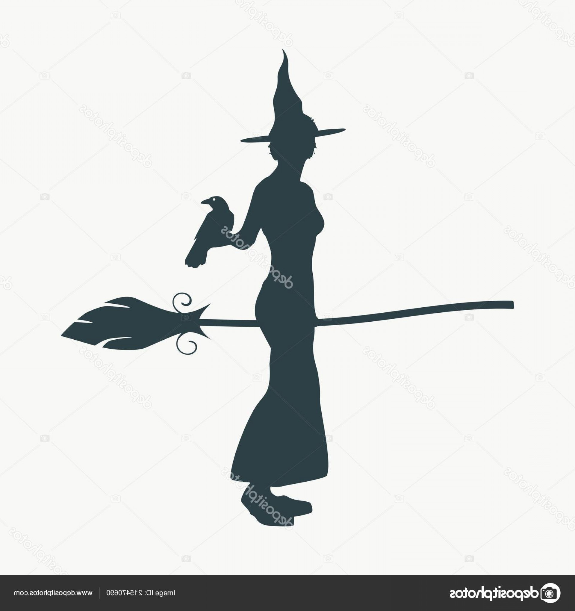 Witch Silhouette Vector: Stock Illustration Witch Silhouette With A Broomstick