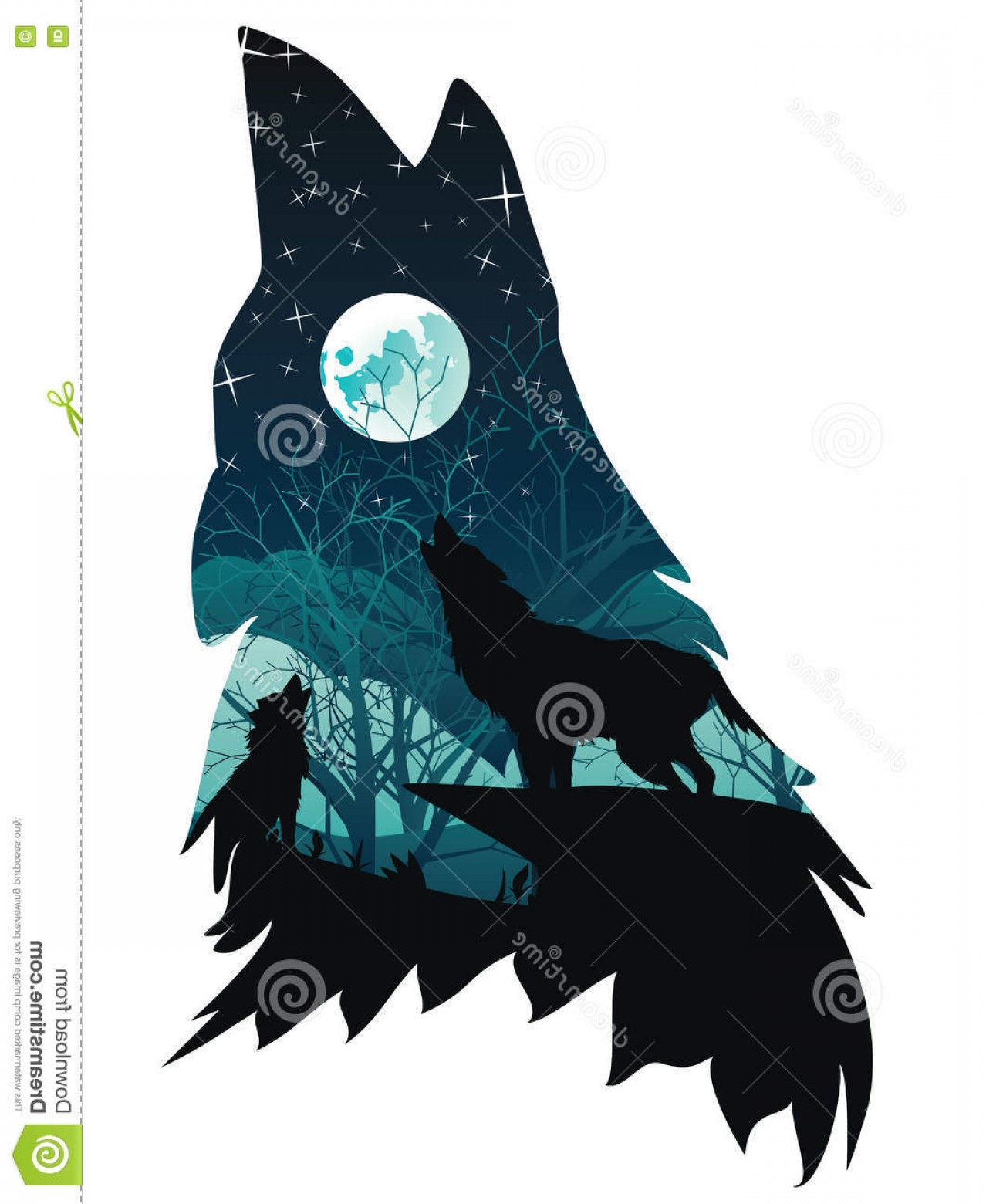 Calm Wolf Vector: Stock Illustration Wolf Howling Forest Silhouette Abstraction Night Image