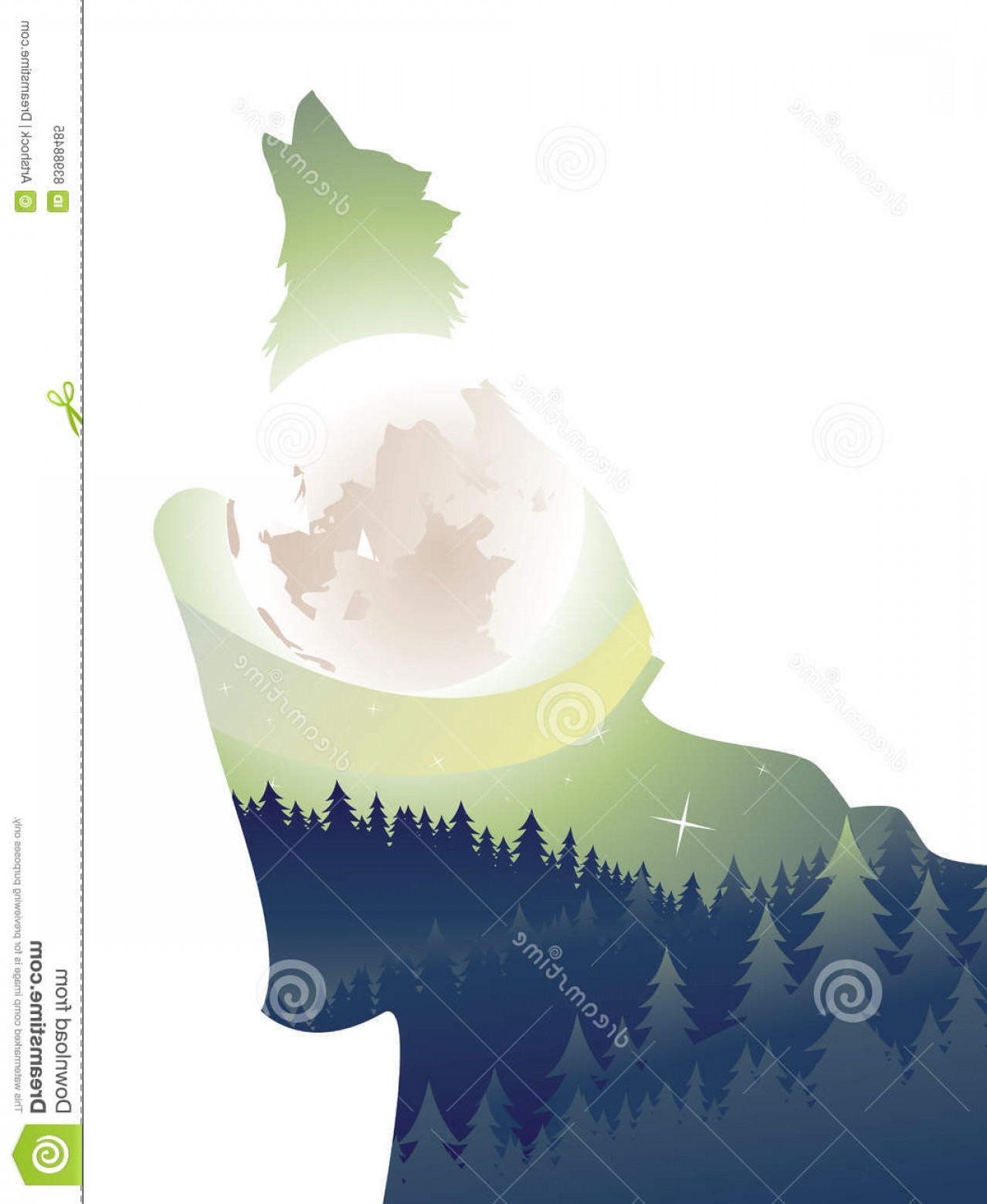 Calm Wolf Vector: Stock Illustration Wolf Howling Night Forest Silhouette Moon Image