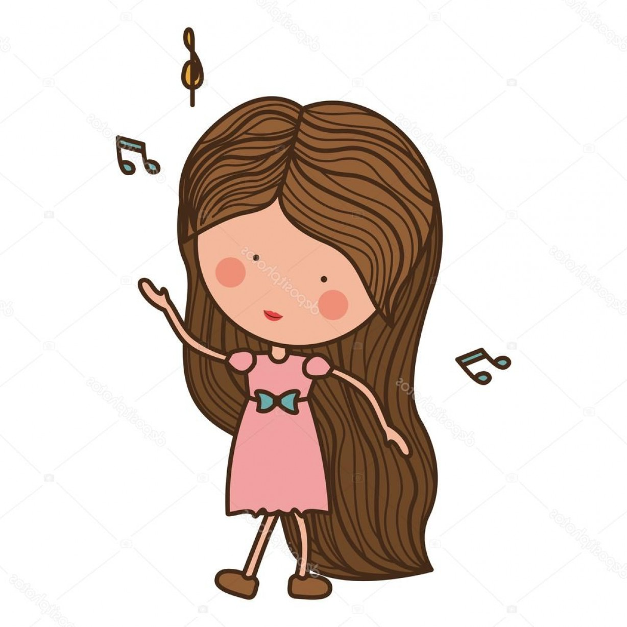 Dancing Musical Notes Vector: Stock Illustration Woman Dancing With Musical Notes