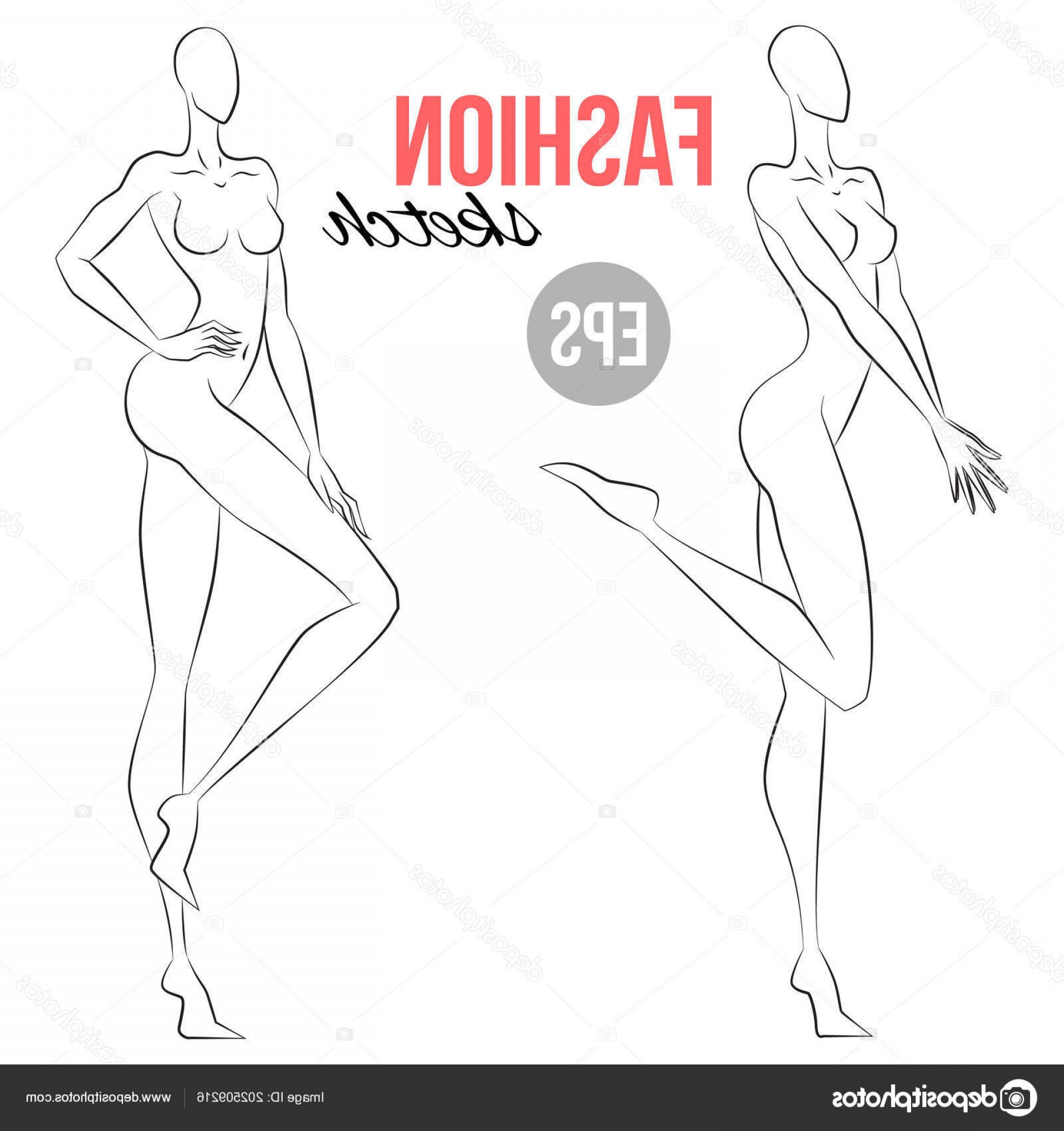 Vector Model Poses: Stock Illustration Woman Figure Sketch Different Poses