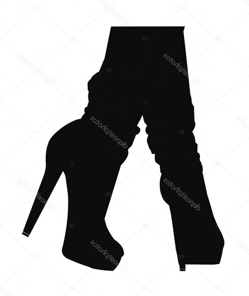 Silhouette Hee High Vector Lsitleetios: Stock Illustration Woman In Jeans And Heels