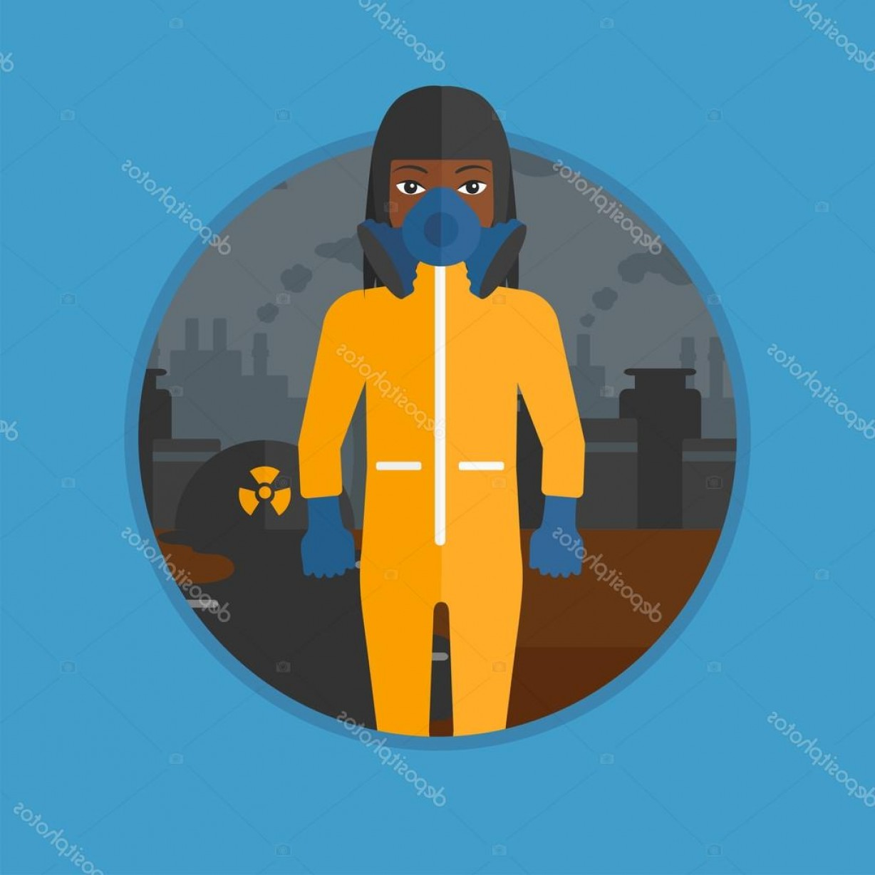 Chewbacca Vector Flat Design: Stock Illustration Woman In Radiation Protective Suit