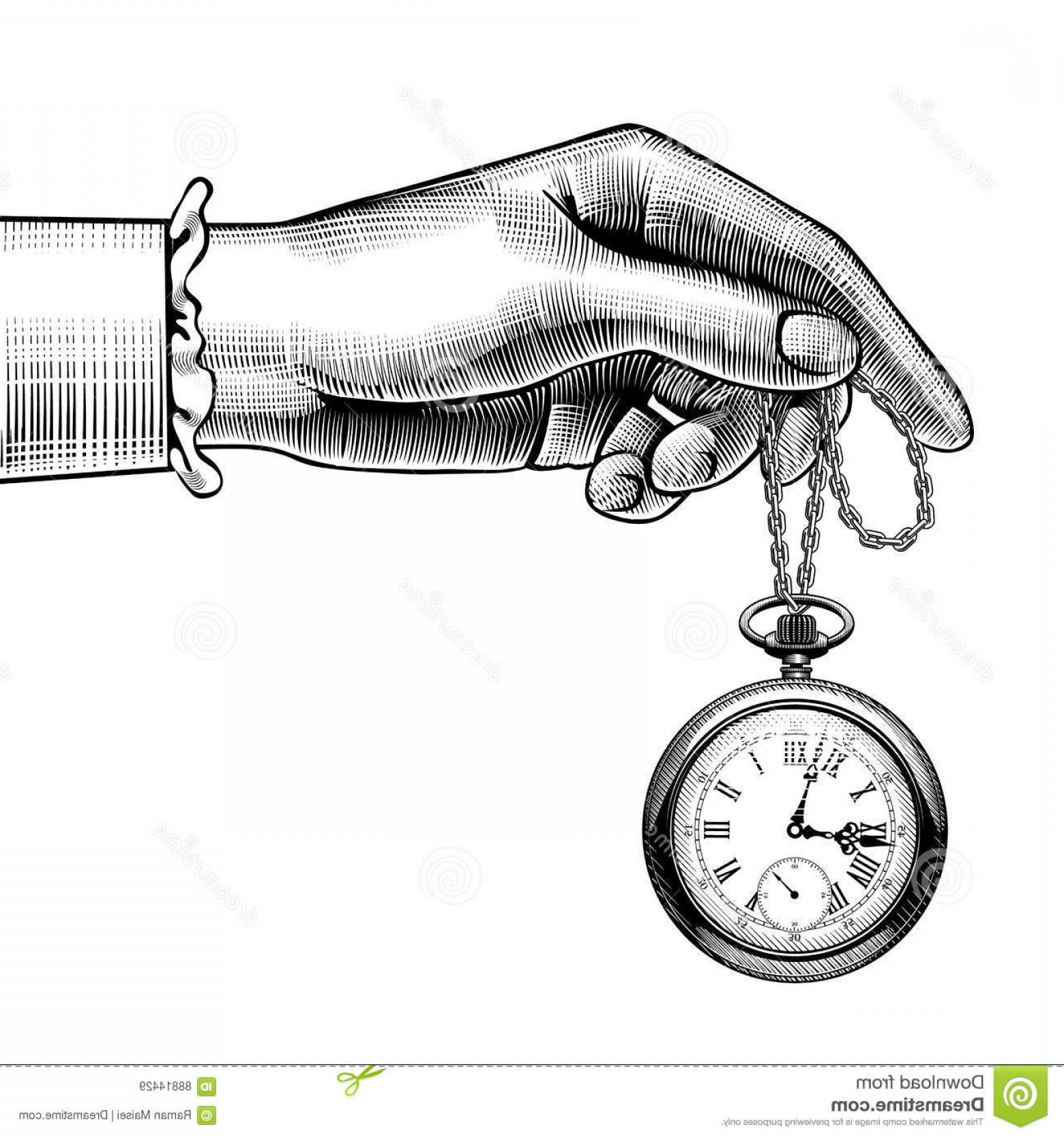Fancy Wrist Watch Vector: Stock Illustration Woman S Hand Retro Pocket Watch Vintage Stylized Drawing There Addition Vector Format Eps Image