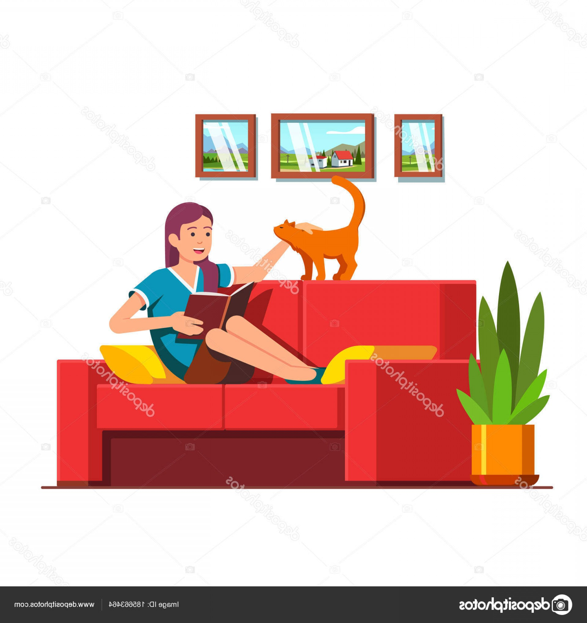 Back Of The Couch Vector: Stock Illustration Woman Sitting On Sofa Reading