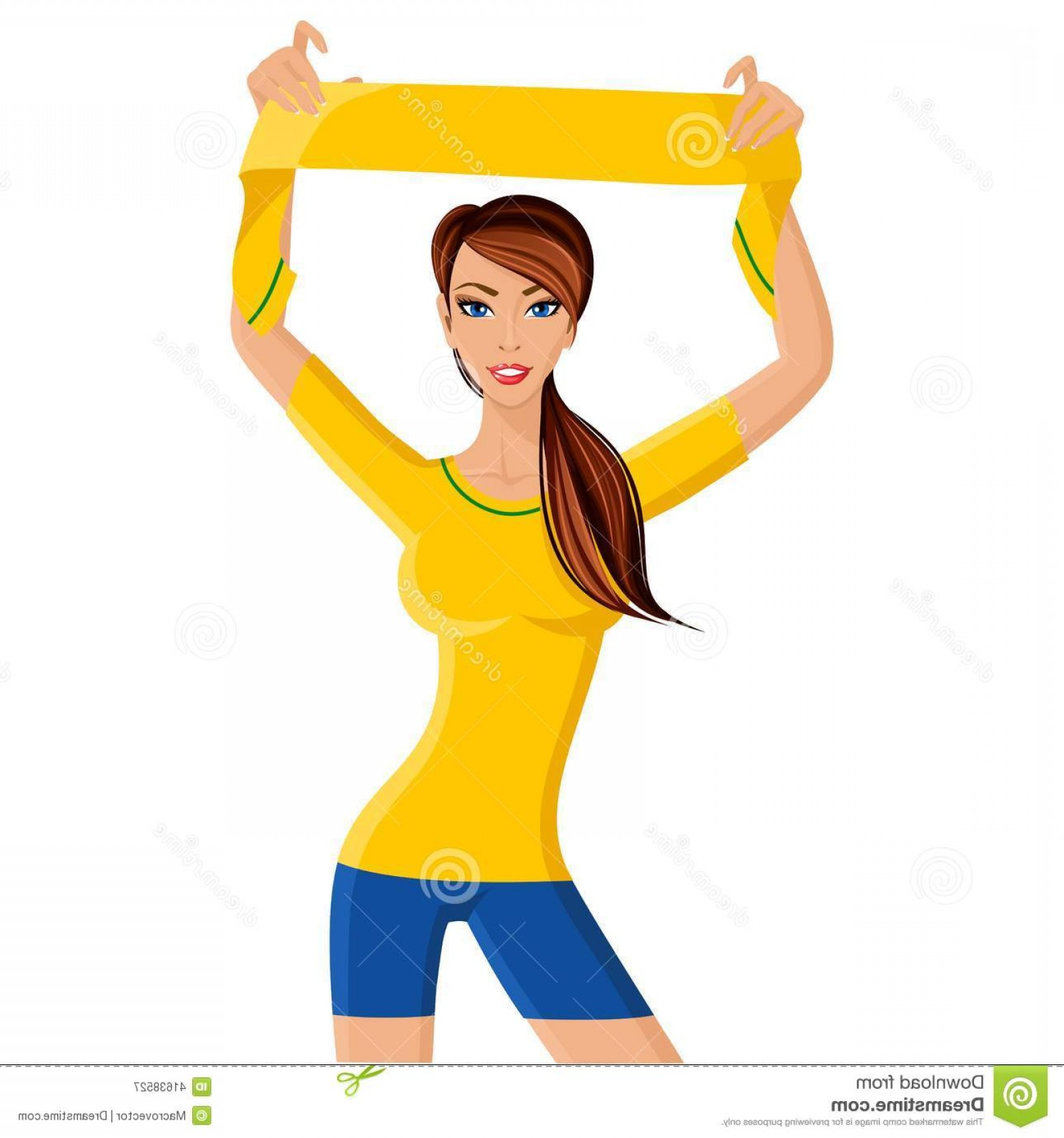 Vector Football Girl: Stock Illustration Woman Soccer Fan Portrait Young Fit Happy Girl Football Scarf Isolated White Background Vector Illustration Image