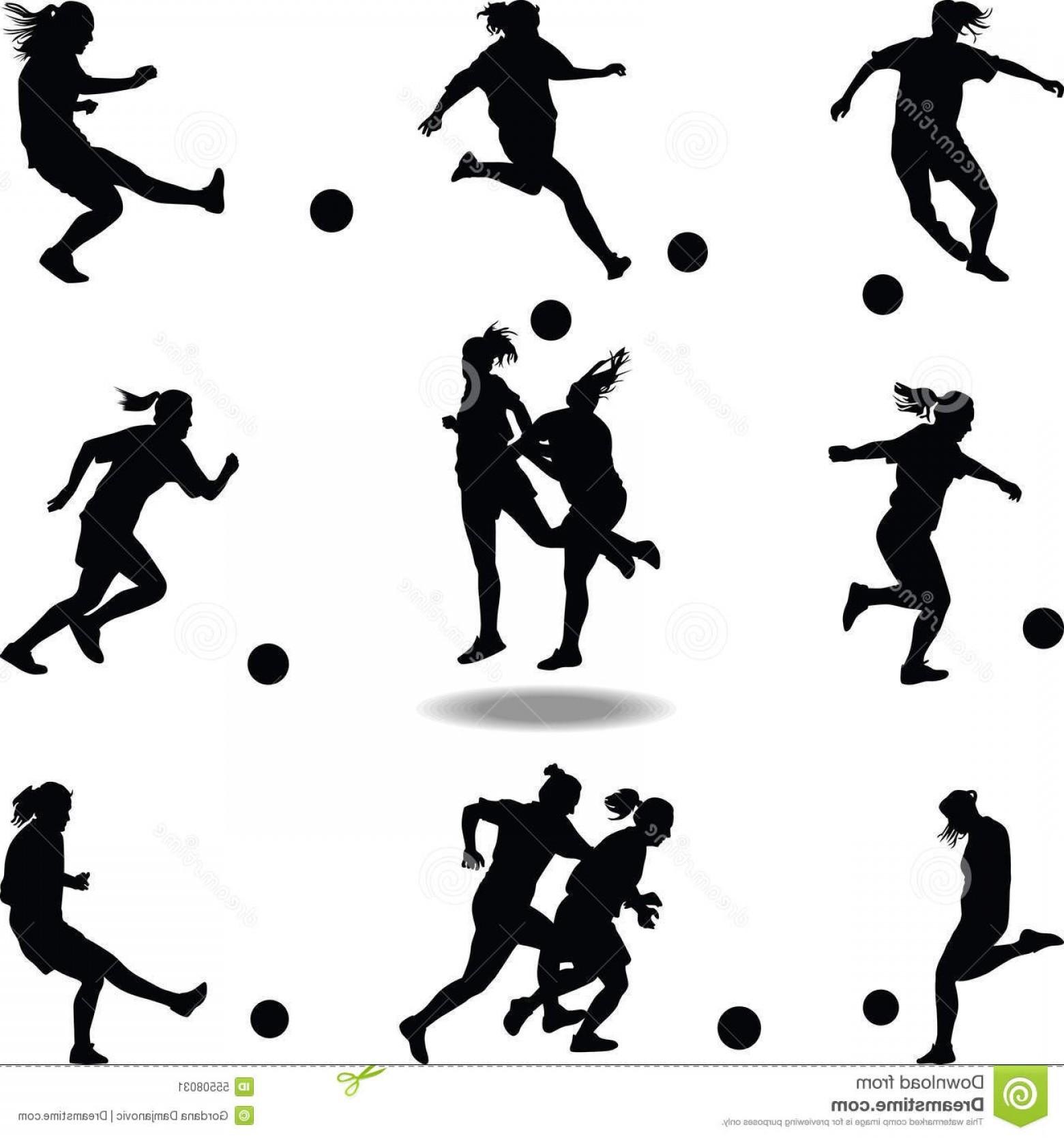 Vector Football Girl: Stock Illustration Woman Soccer Player Silhouette Vector Nine Different Situation Image