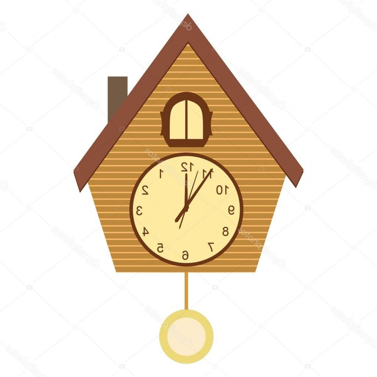 Old Floor Clock Vector: Stock Illustration Wood Cuckoo Clock Vector Illustration