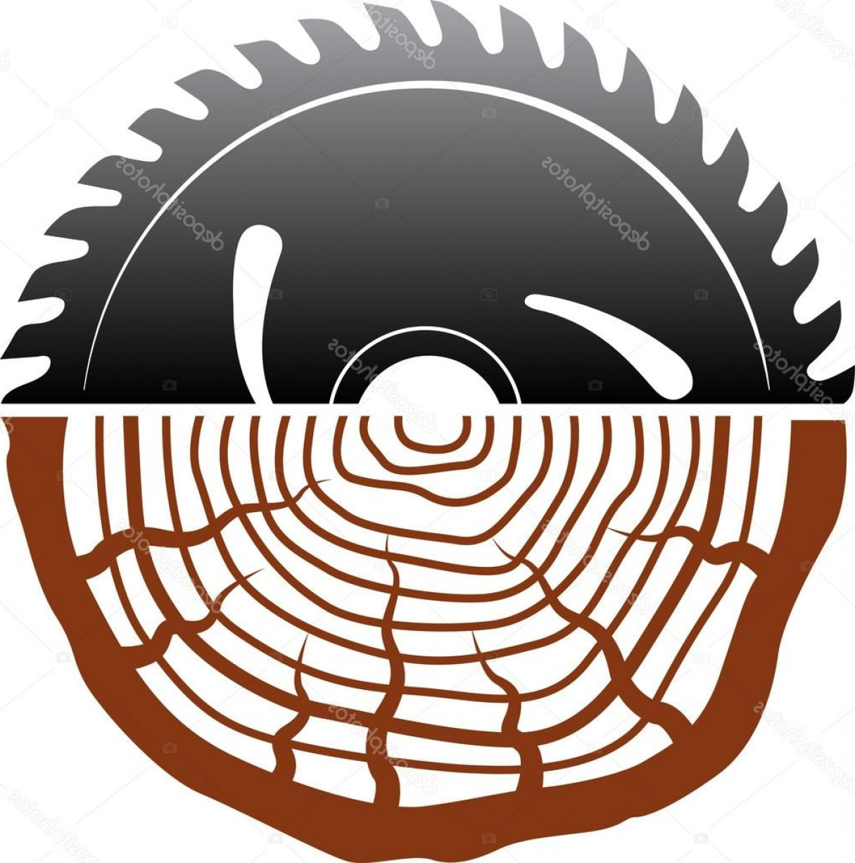 Wood Cutting Vector: Stock Illustration Wood Cutting Logo Design