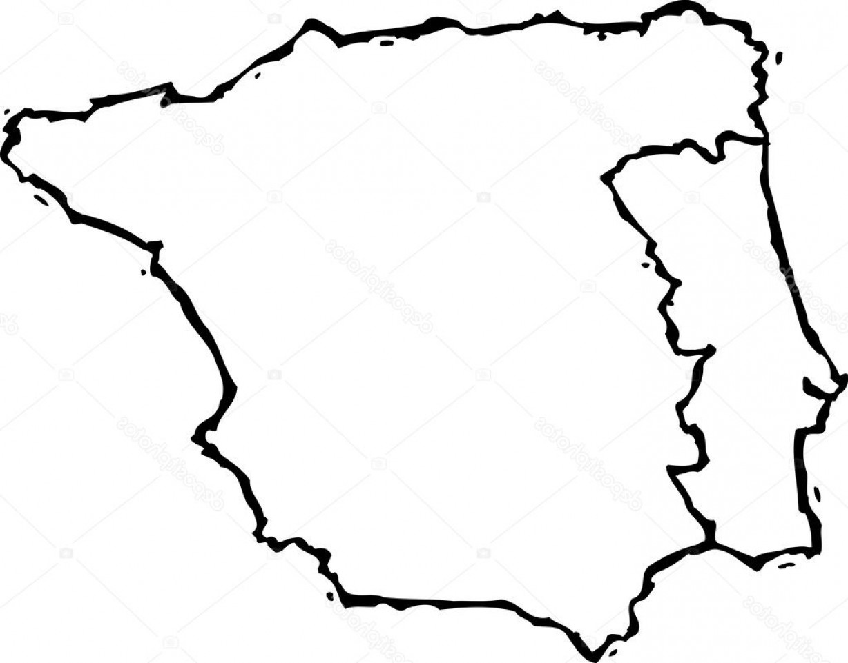 Spain Outline Vector: Stock Illustration Woodcut Illustration Of Map Of