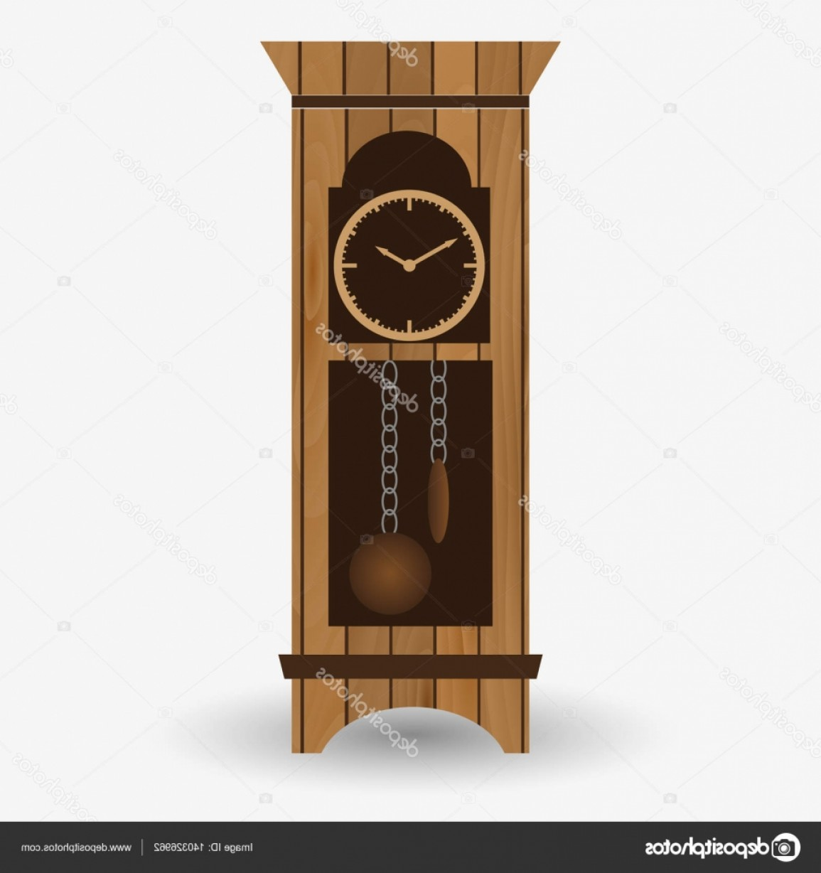 Old Floor Clock Vector: Stock Illustration Wooden Floor Pendulum Clock Vector