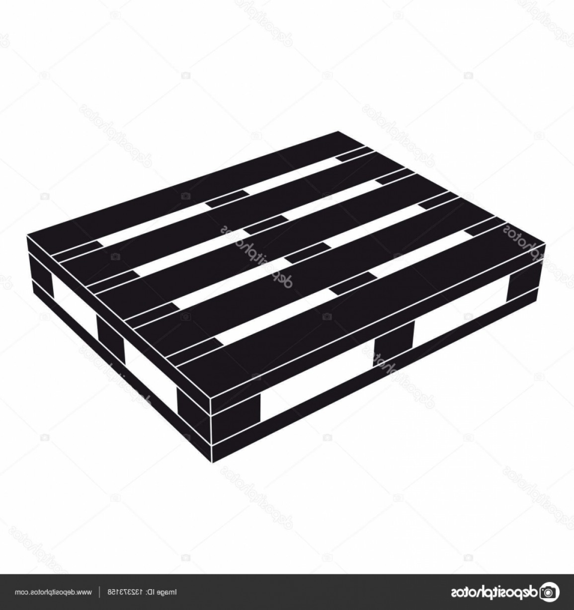 Vector Black Pallet: Stock Illustration Wooden Pallet Black Symbol