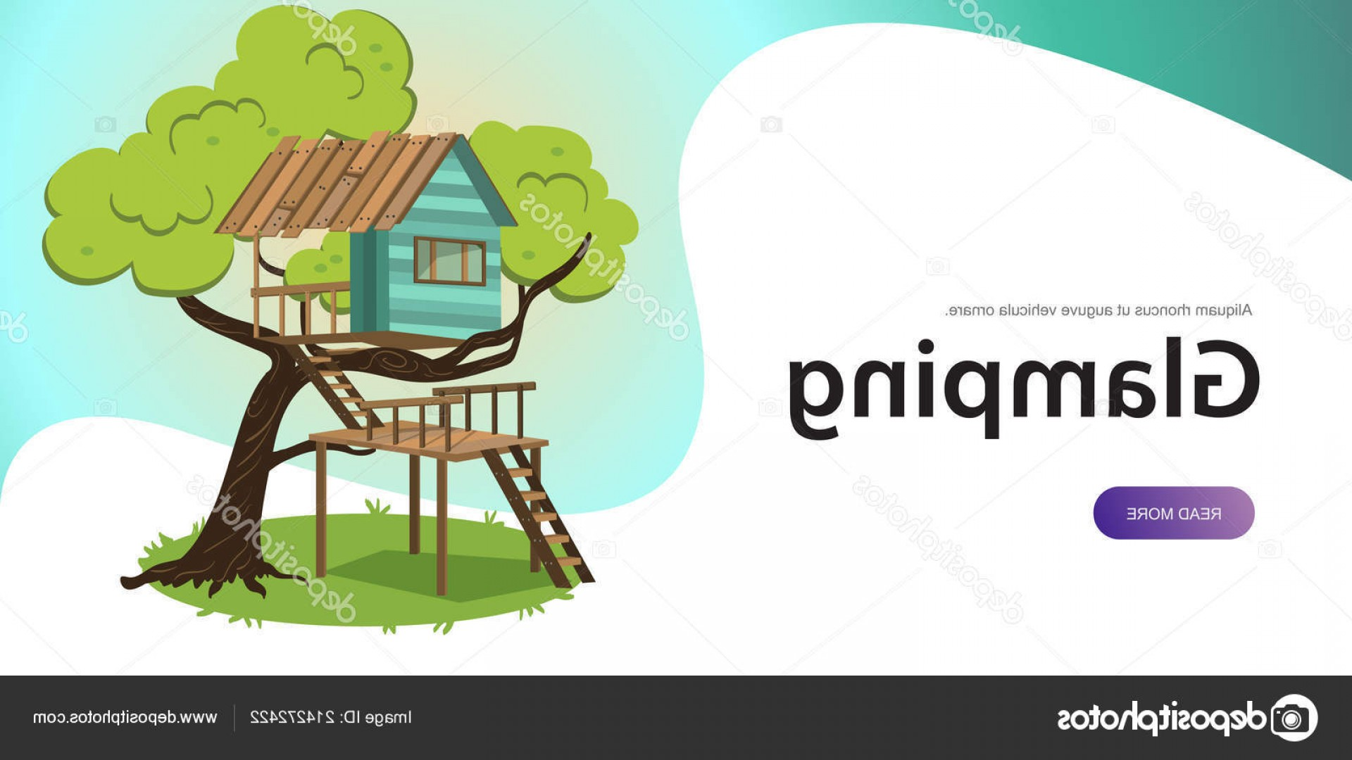Vector Modern Tree House: Stock Illustration Wooden Treehouse With Upstairs Poster
