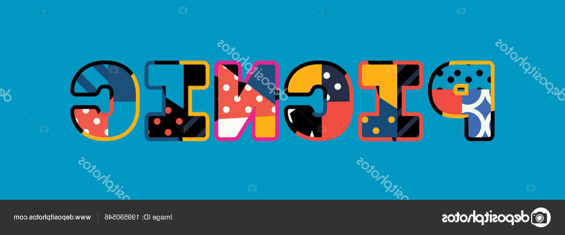 Vector Word Picnic: Stock Illustration Word Picnic Concept Written Colorful