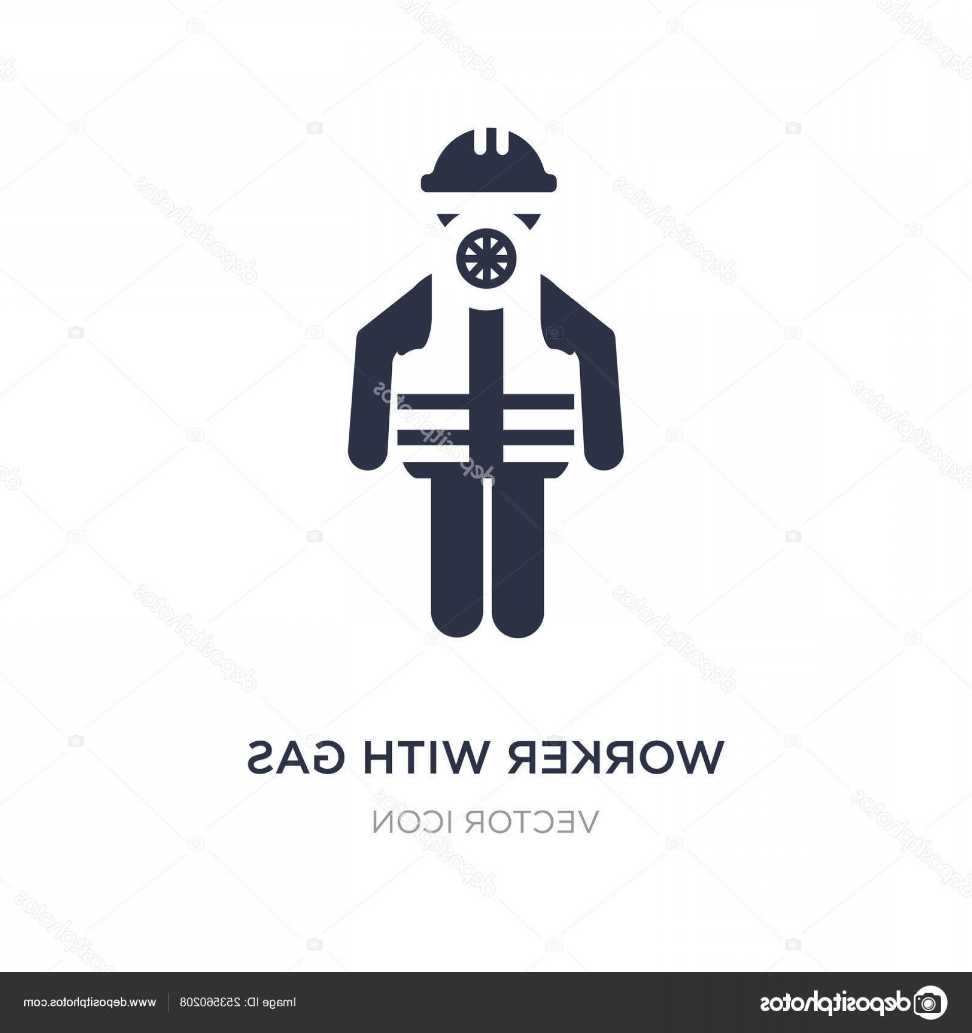 Gas Mask Suit And Tie Vector: Stock Illustration Worker With Gas Mask Icon
