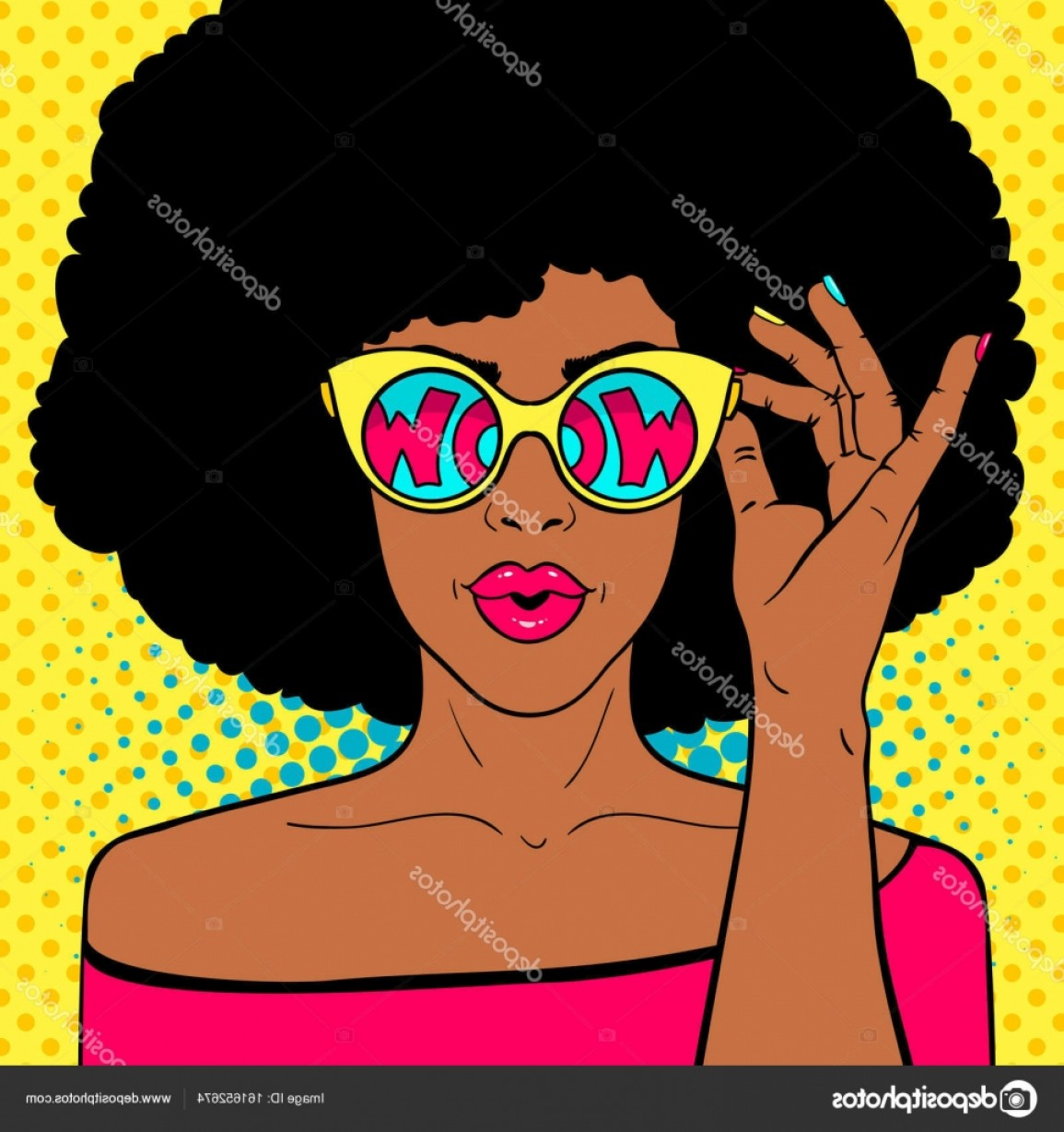 Vector Sexy Sunglasses: Stock Illustration Wow Pop Art Face Sexy
