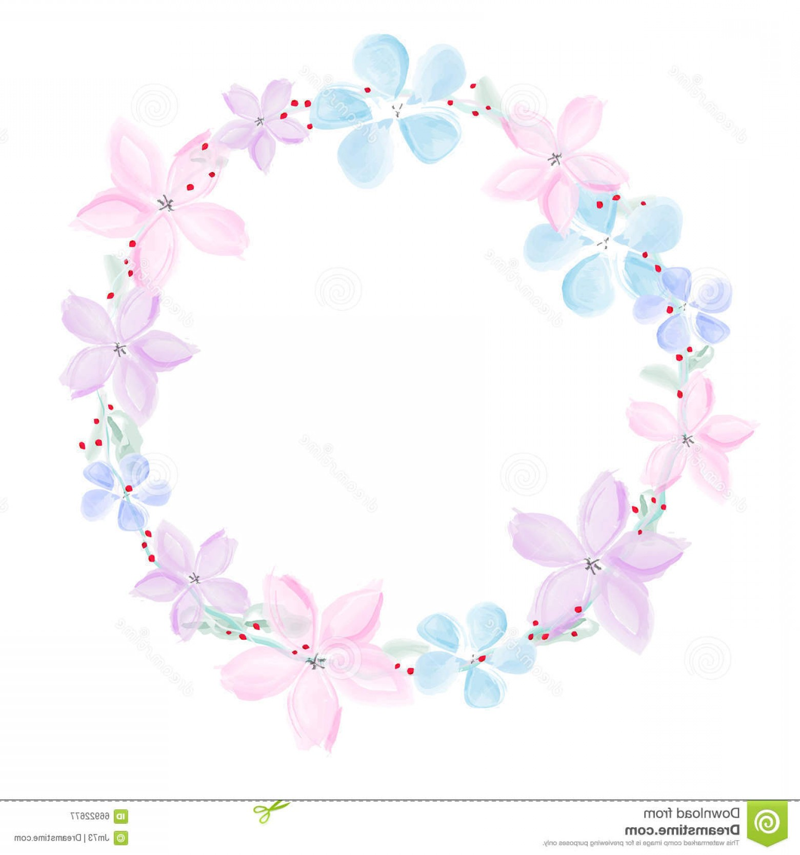 Watercolor Floral Background Vector: Stock Illustration Wreath Abstract Watercolor Flowers White Background Vector Illustration Image