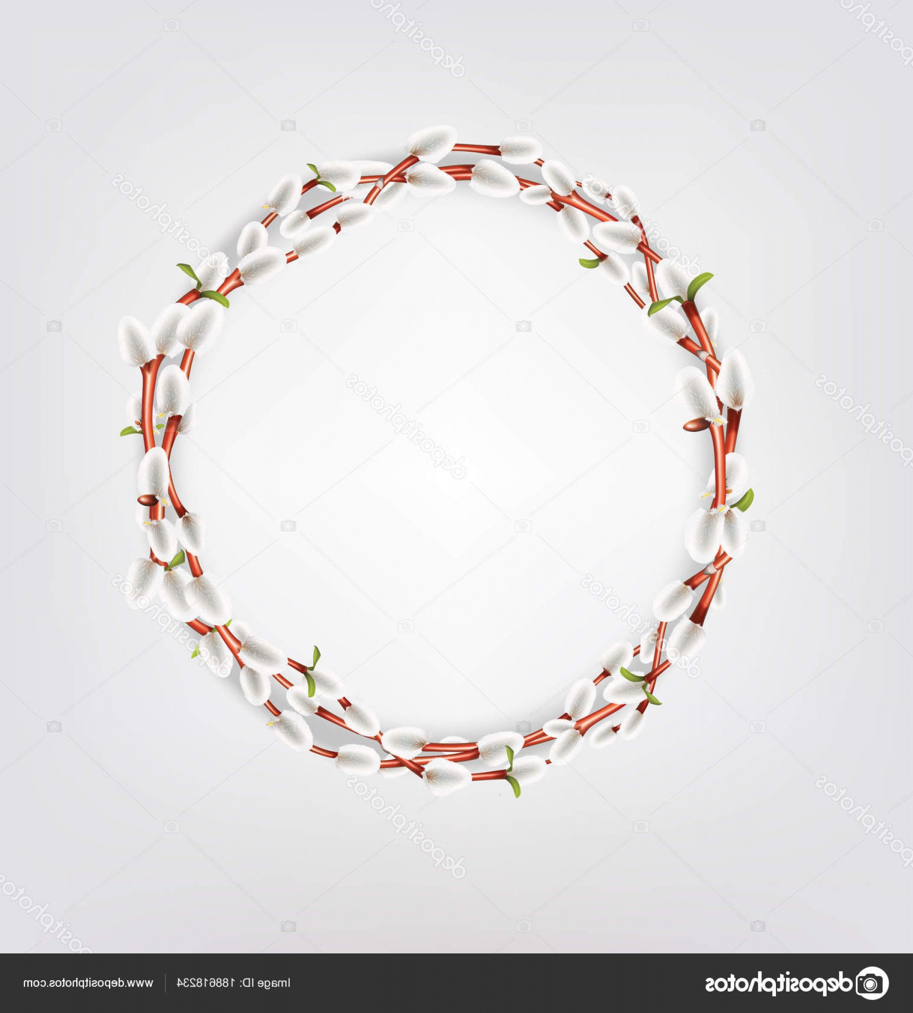 Vector Natural Willow: Stock Illustration Wreath Made Of Willow Twigs