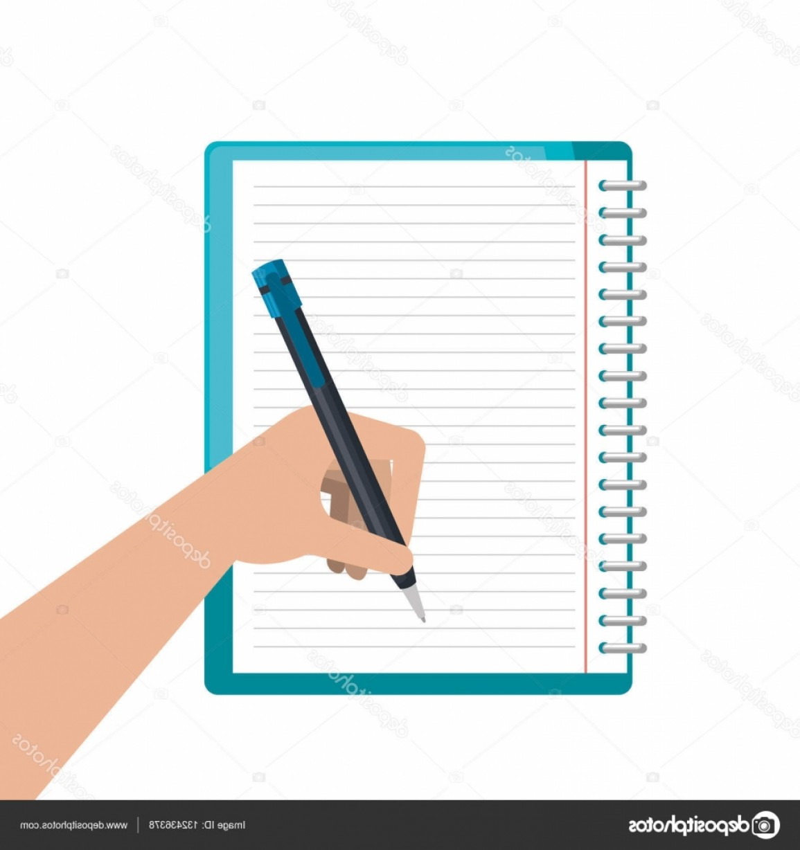 Notepad Writing Hand Vector: Stock Illustration Writing In Notebook School Isolated