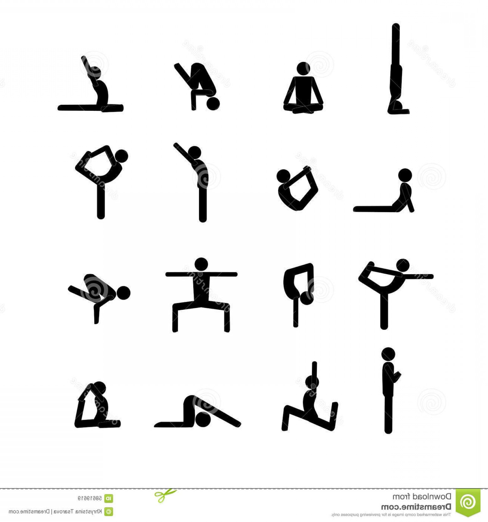 Yoga Stick Figure Vector: Stock Illustration Yoga Stick Man Set Vector Poses Icon Image