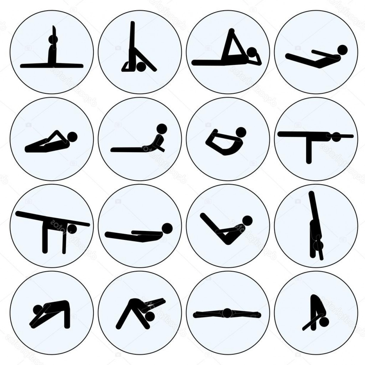 Vector Stick Figure Yoga Positions: Stock Illustration Yoga Stick Man Set