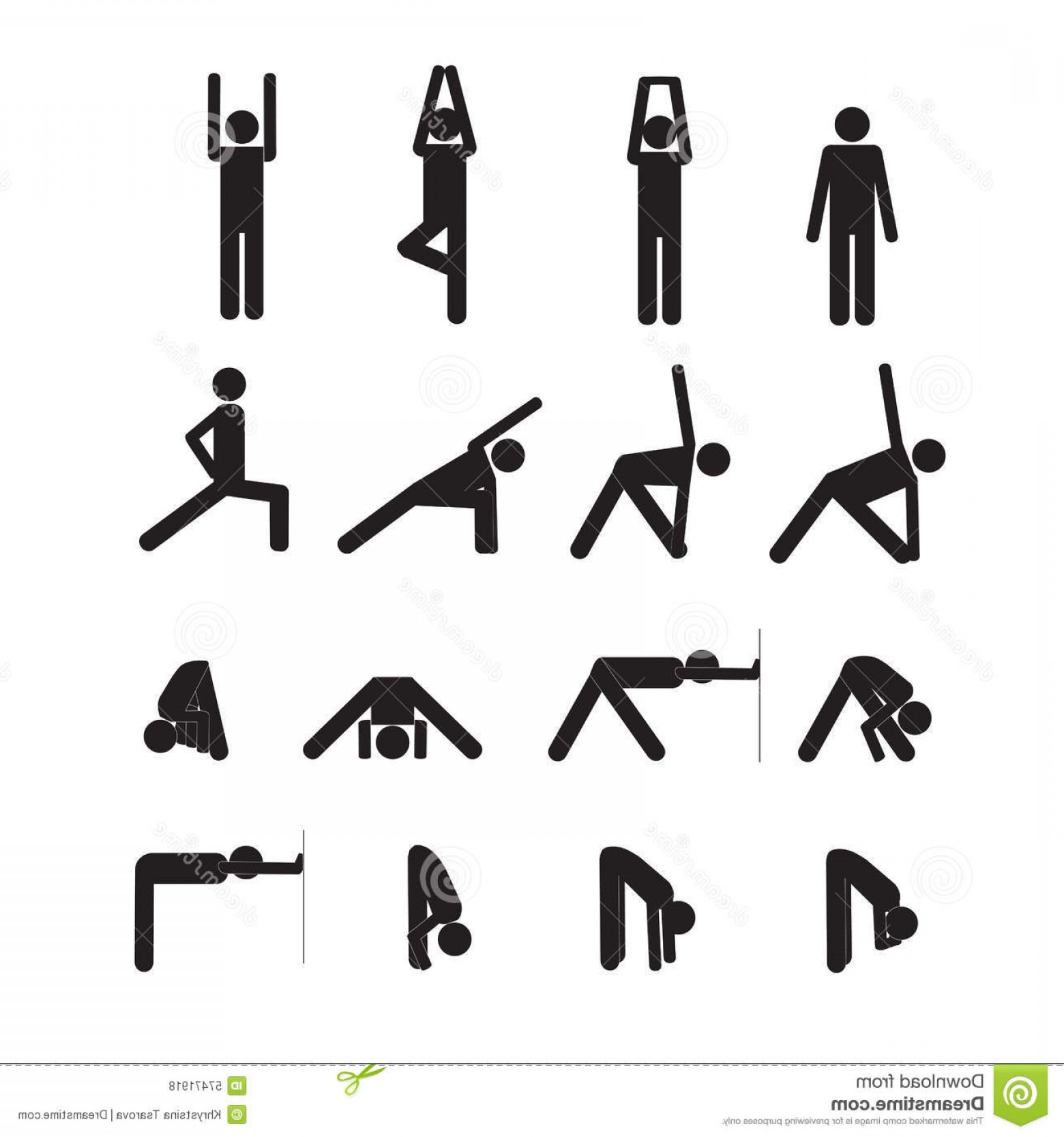 Yoga Stick Figure Vector: Stock Illustration Yoga Stick Man Vector Icon Set Image