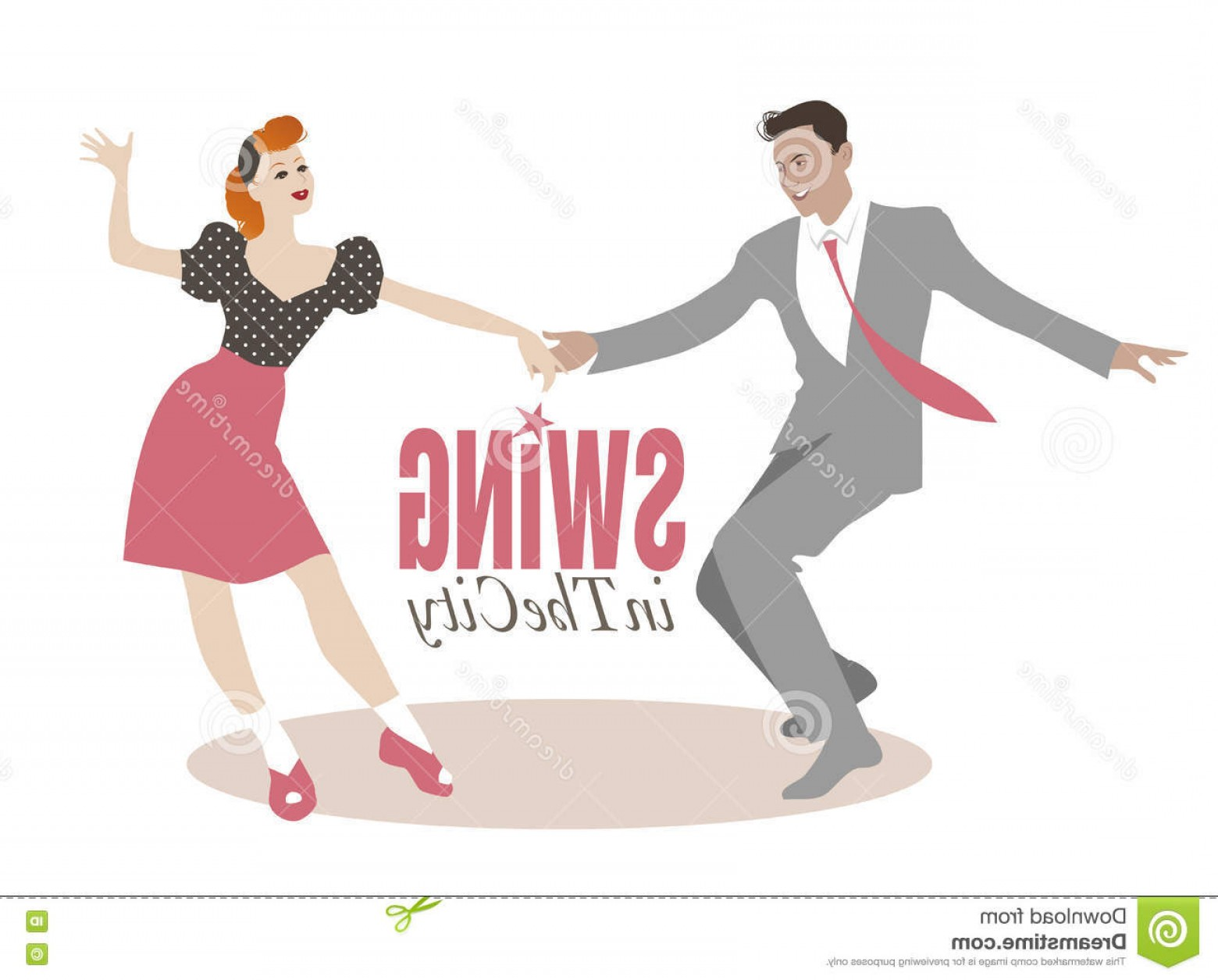 Vector Swing Dancers: Stock Illustration Young Couple Dancing Swing Lindy Hop Handsome Man Pin Up Girl Image
