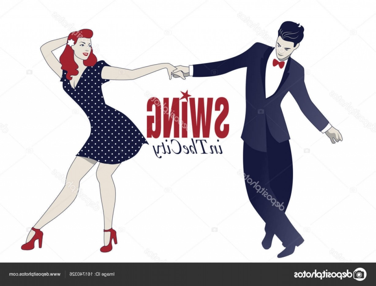 Vector Swing Dancers: Stock Illustration Young Couple Dancing Swing Lindy