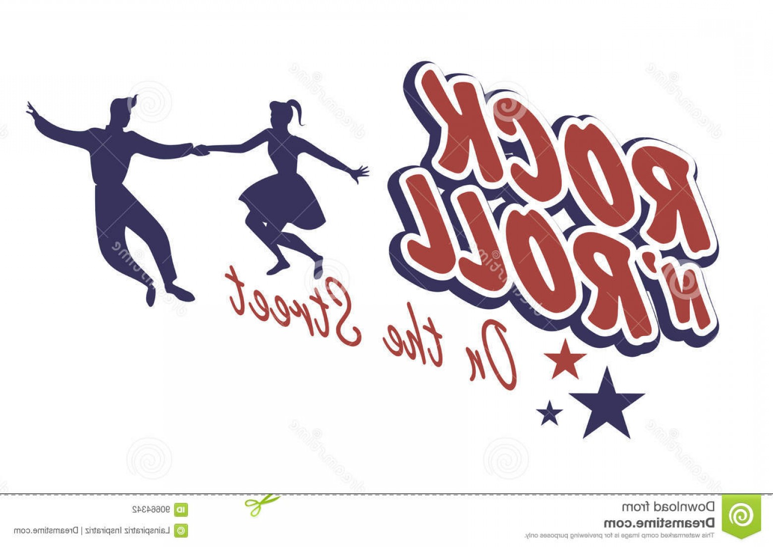 Vector S 50 Pics: Stock Illustration Young Couple Wearing S Clothes Dancing Rock Roll Vector Illustration Image