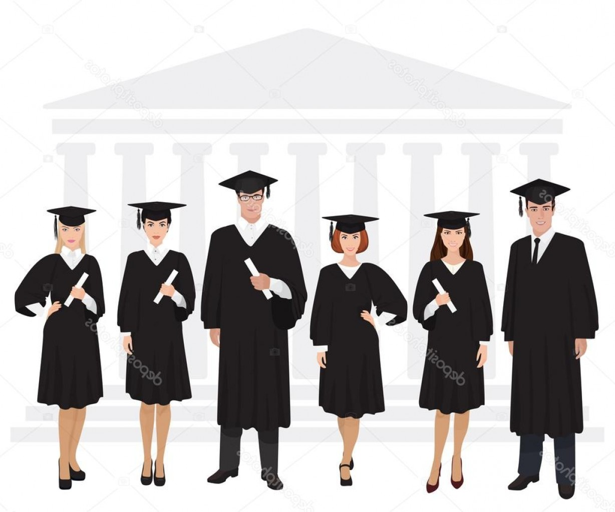 Standing Diploma Vector: Stock Illustration Young Guys And Girls Graduates