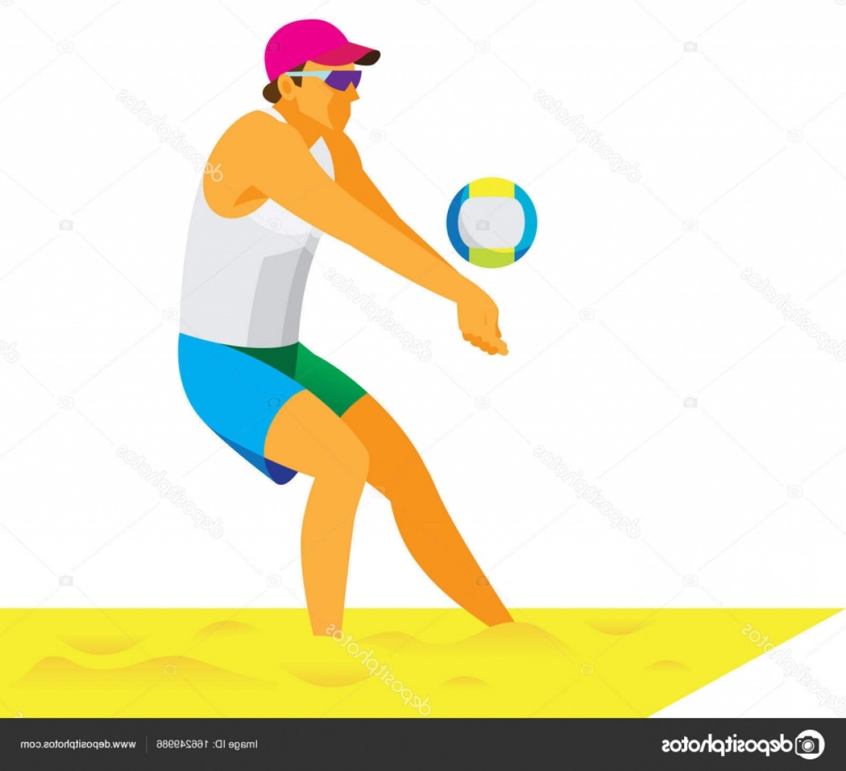 Volleyball Player Vector: Stock Illustration Young Male Beach Volleyball Player