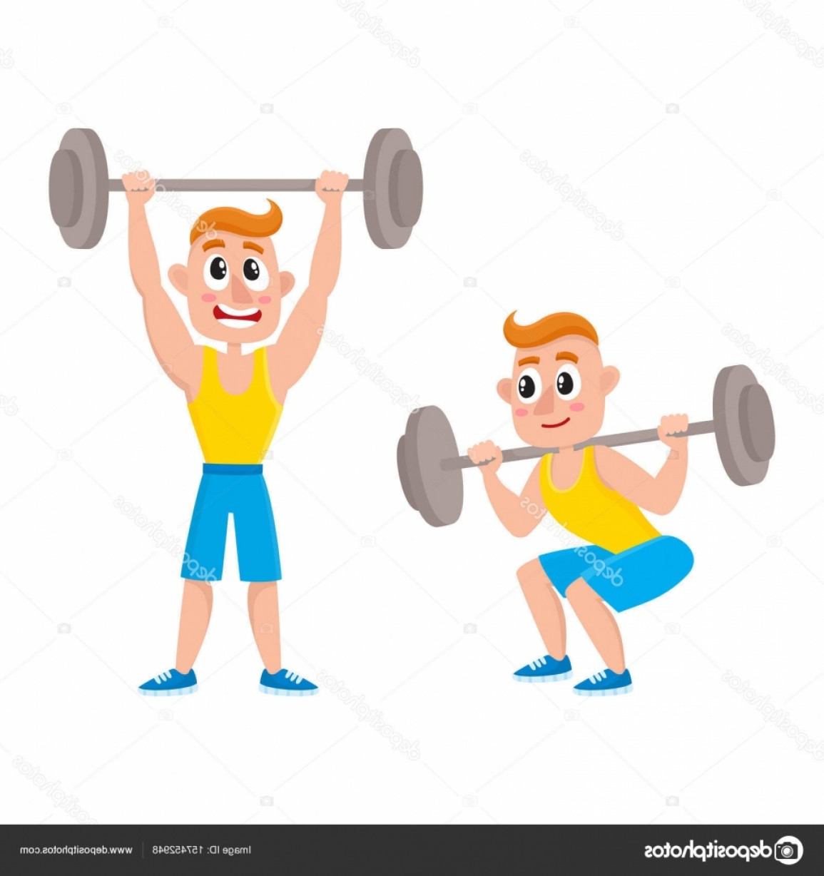 Vector Barbell Press: Stock Illustration Young Man Training With Barbell
