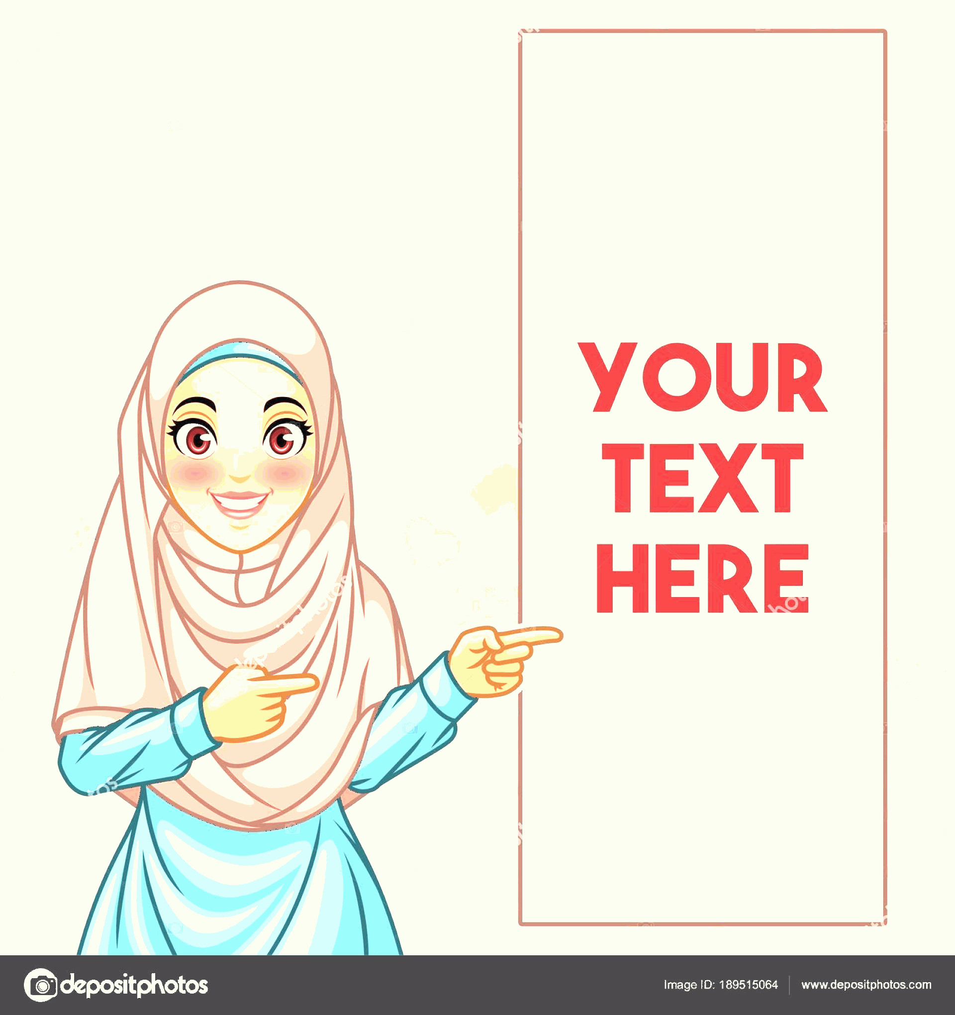 Vector Cartoon Hand Pointing Left: Stock Illustration Young Muslim Woman Wearing Hijab