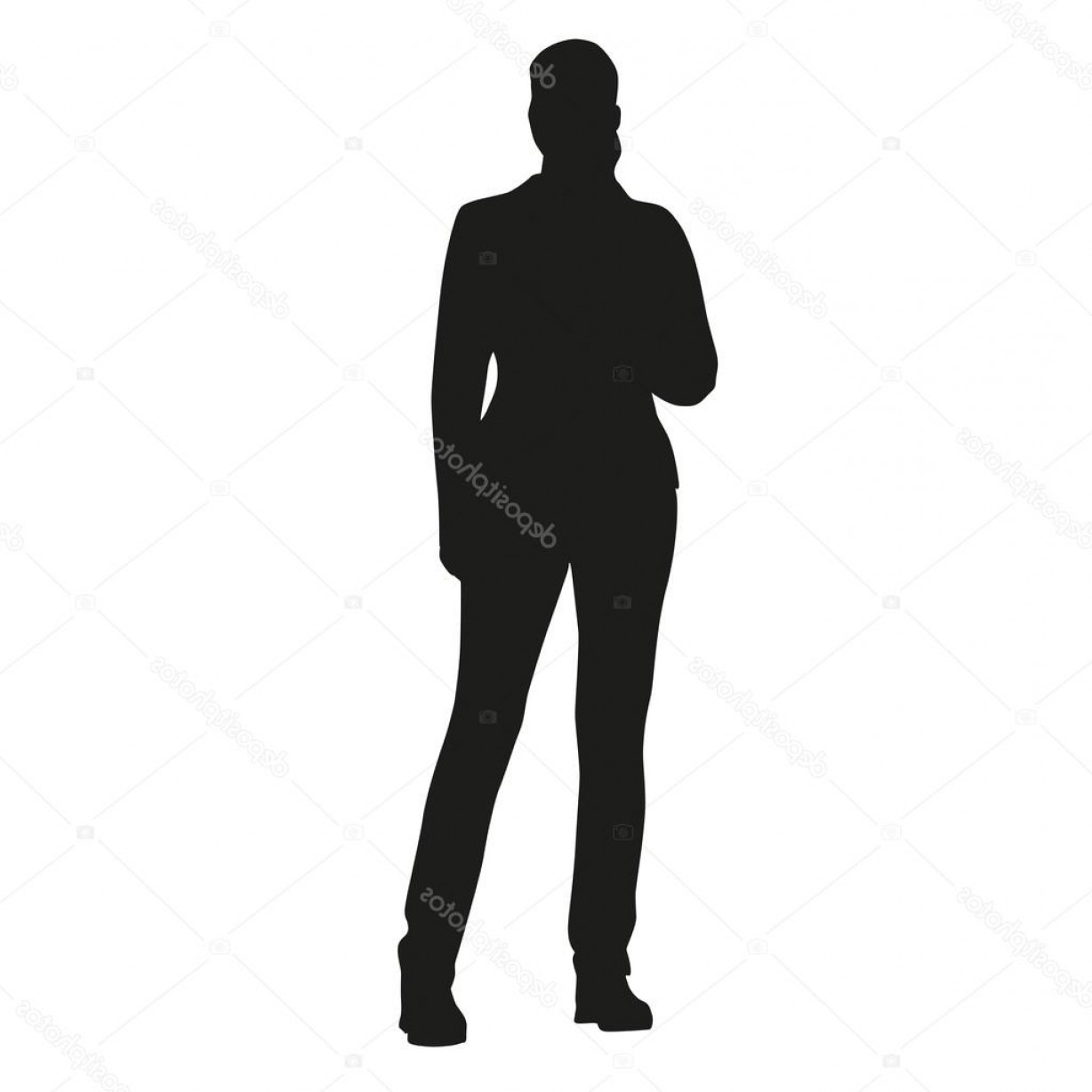 Young Woman Silhouette Vector: Stock Illustration Young Standing Woman Vector Silhouette
