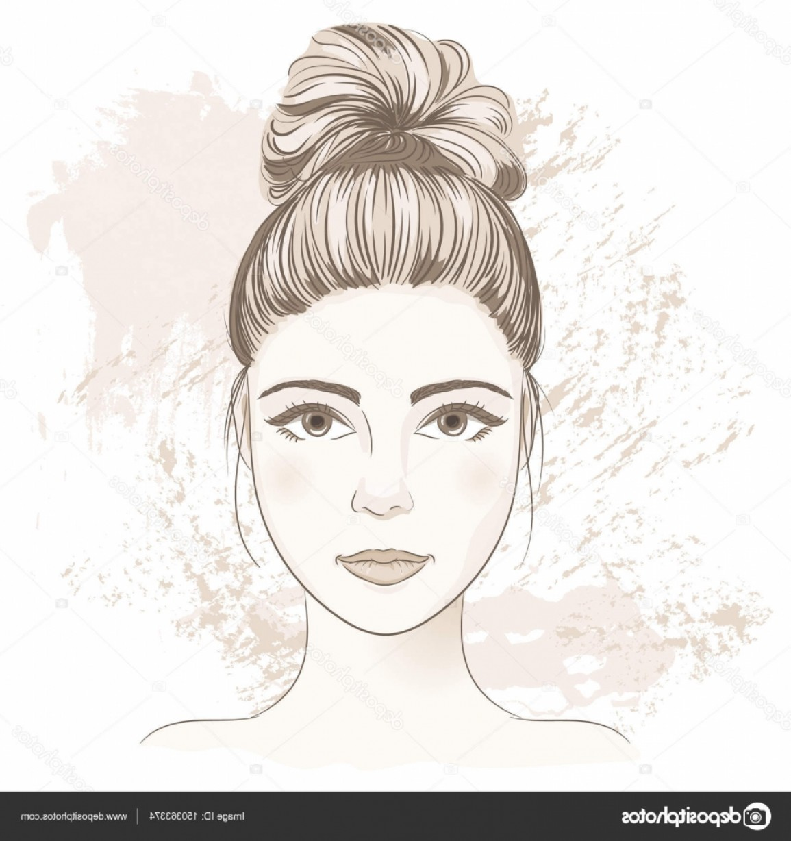 Lady Face Layers Vector: Stock Illustration Young Woman Face Digital Monochrome