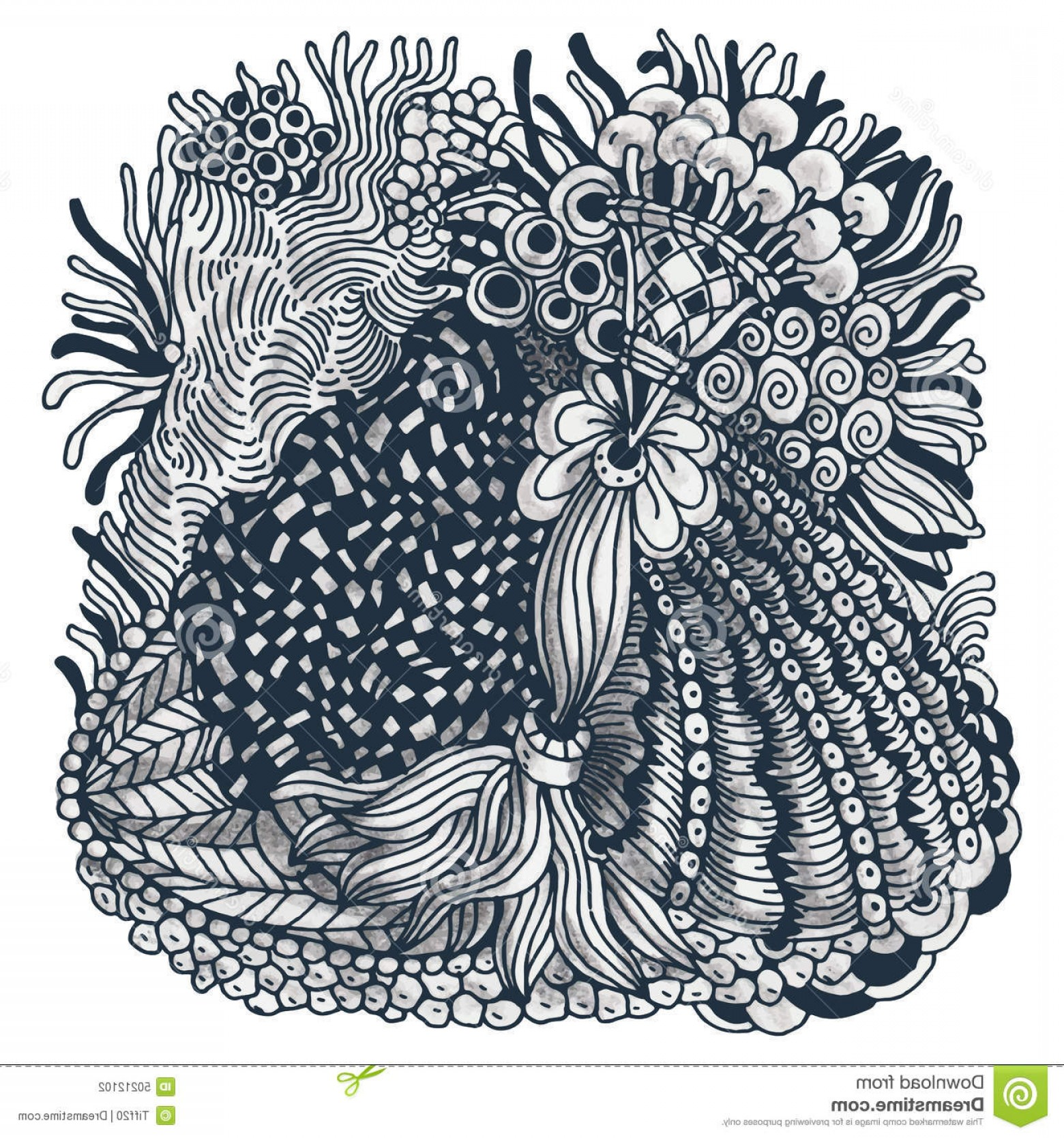 Zentangle Vector: Stock Illustration Zentangle Detailed Hand Drawn Monochrome Illustration Vector Image