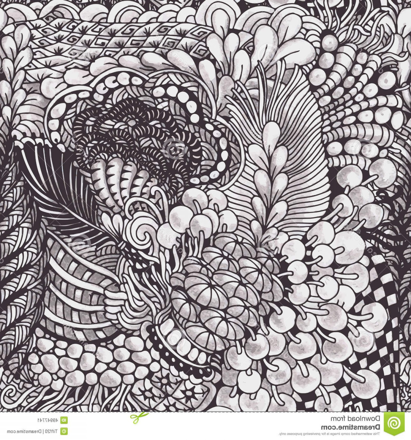 Zentangle Vector: Stock Illustration Zentangle Pattern Monochrome Hand Drawn Seamless Style Vector Image