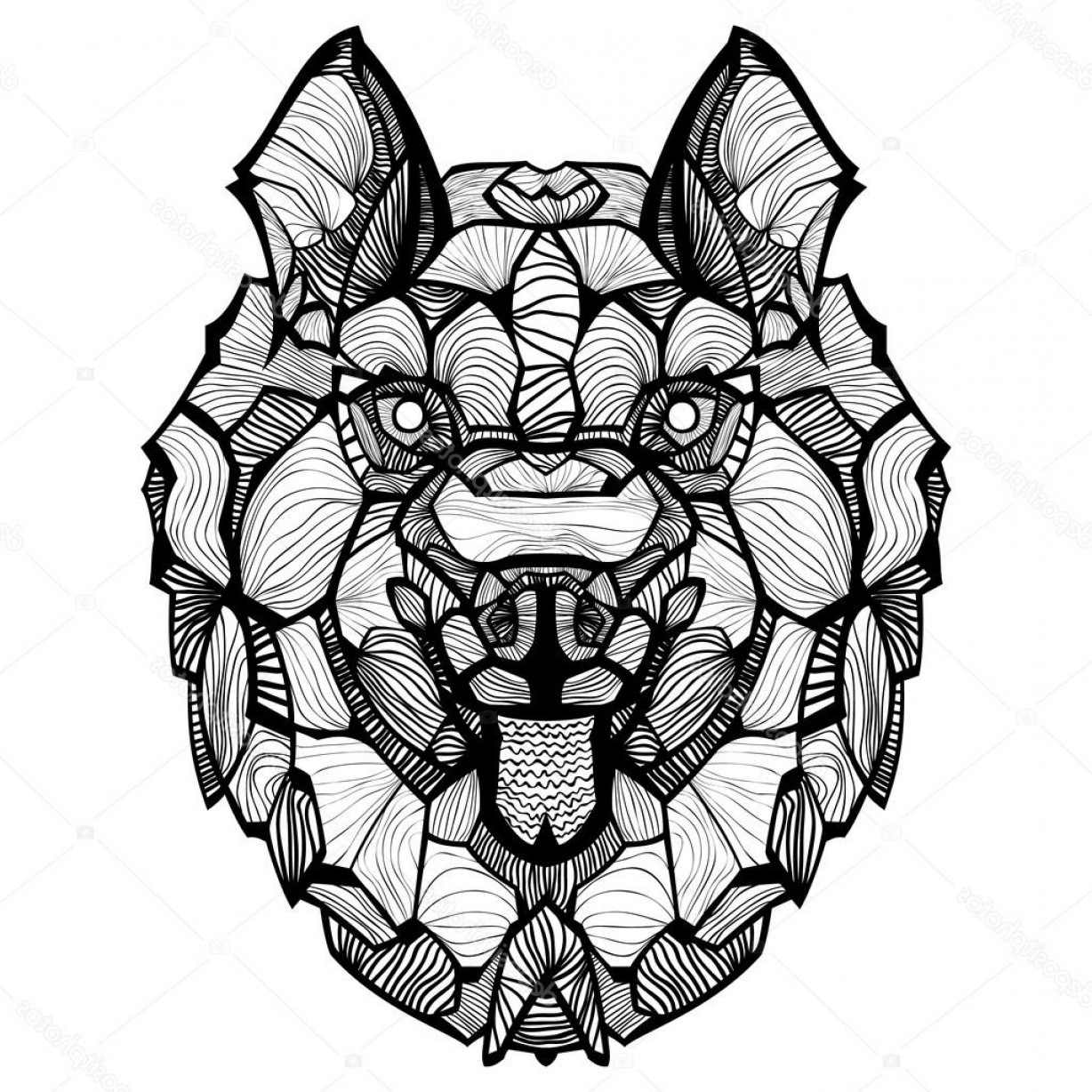 Zentangle Vector: Stock Illustration Zentangle Vector Dog Husky