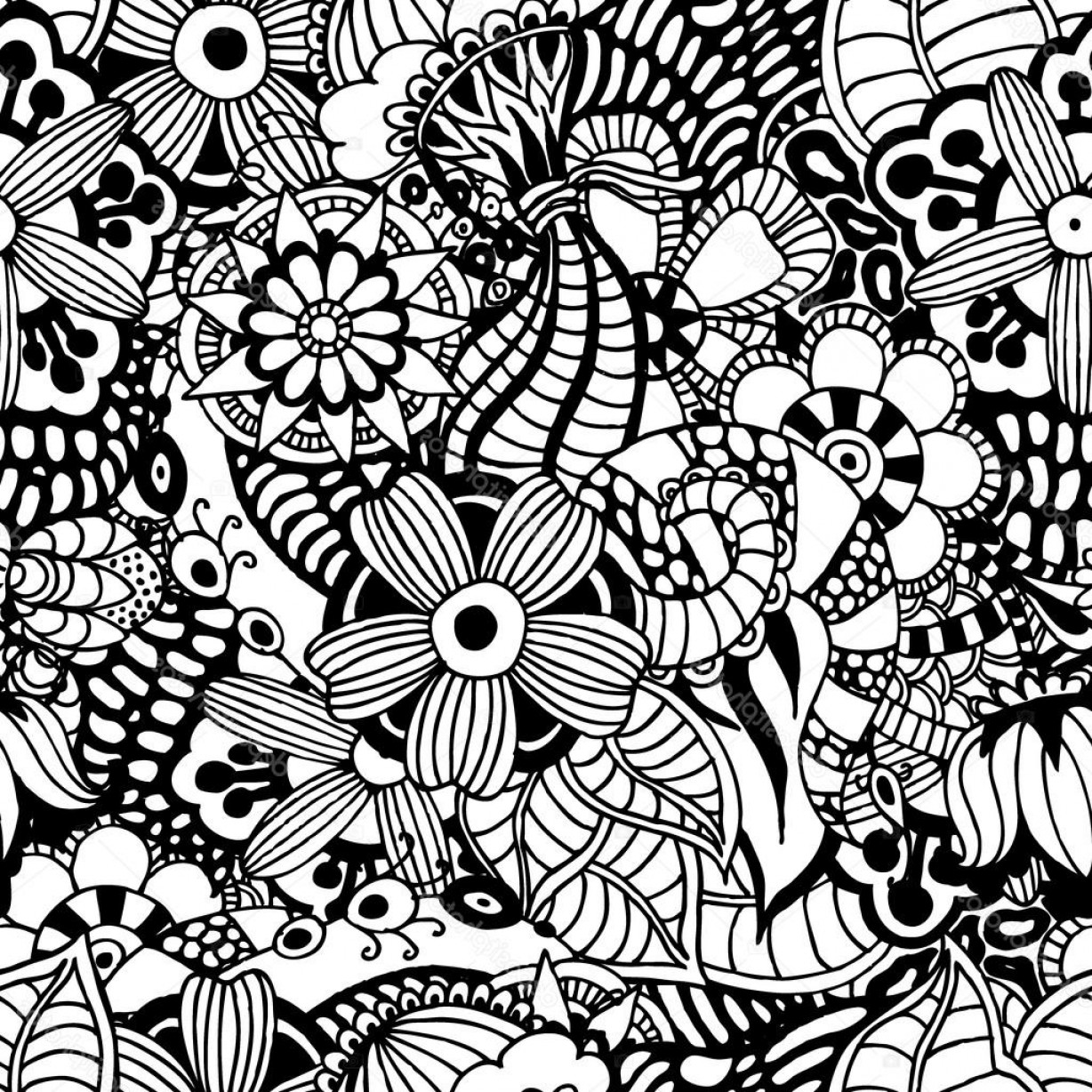Zentangle Vector: Stock Illustration Zentangle Vector Floral Background