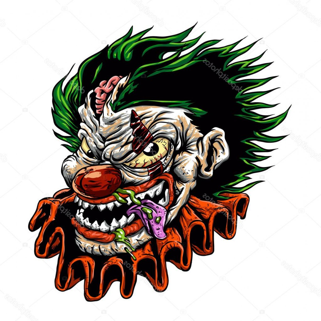 Creepy Clown Vector: Stock Illustration Zombie Evil Clown Vector Illustration