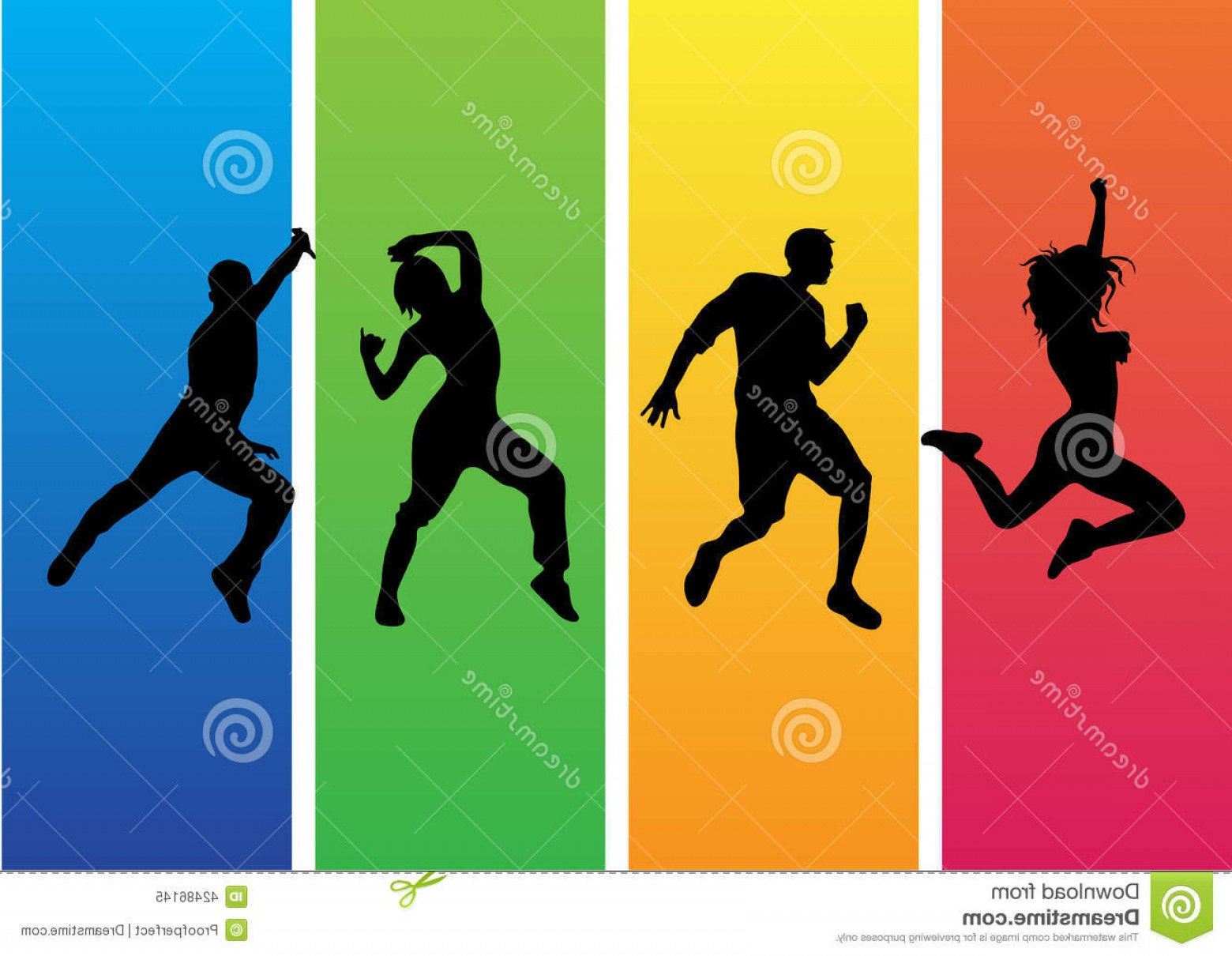 Zumba Vector Illustration: Stock Illustration Zumba Dance Silhouette Vector Energetic Silhouettes Men Woman Dancing Image