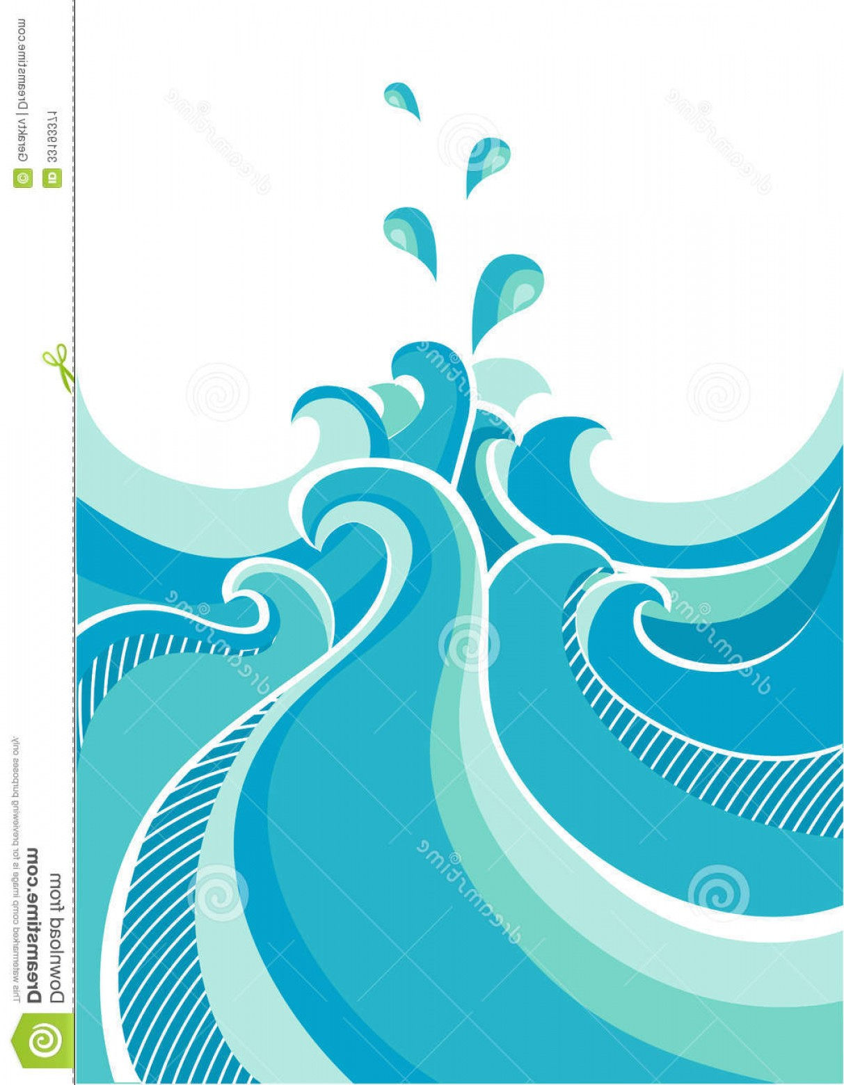 Ocean Wave Vector Illustration: Stock Image Abstract Water Waves Vector Illustration Isolated Dropes White Design Image