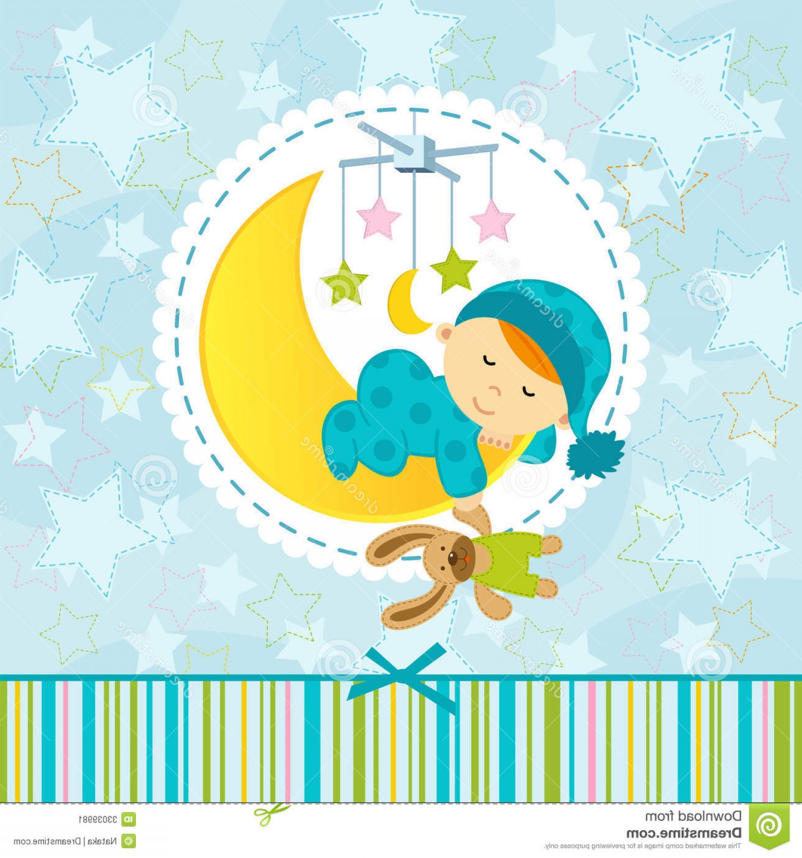 Sleeping Baby Vector: Stock Image Baby Boy Sleeping Vector Illustration Image